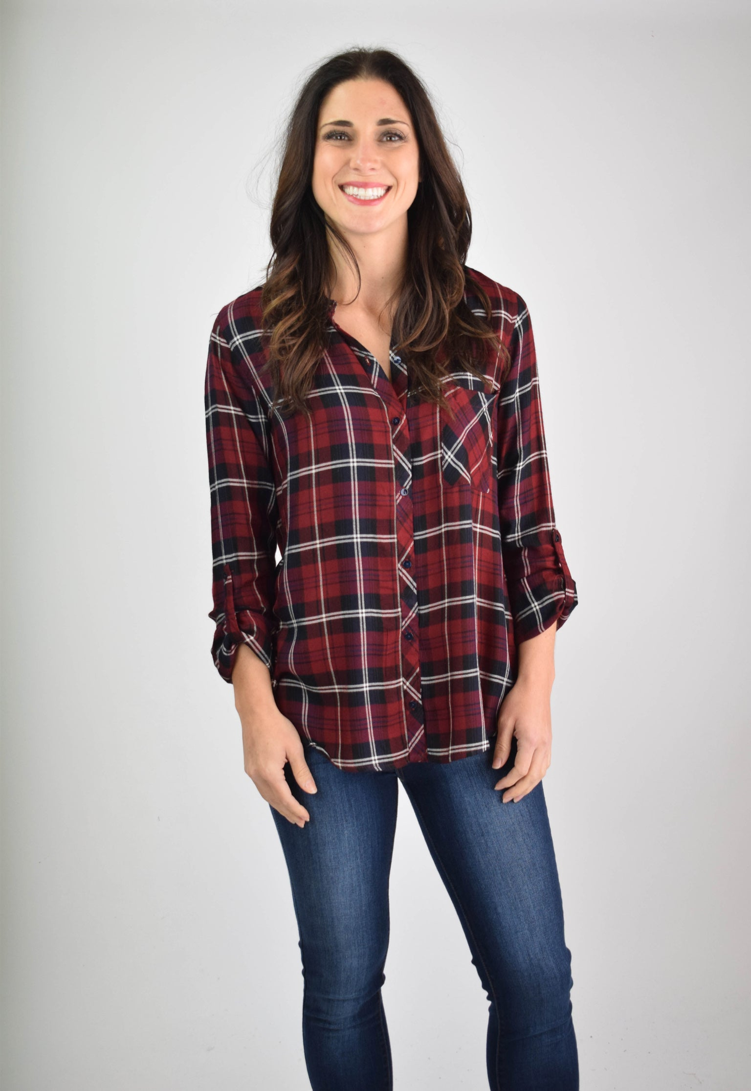 Driving Home Red Plaid Button Up Long Sleeve
