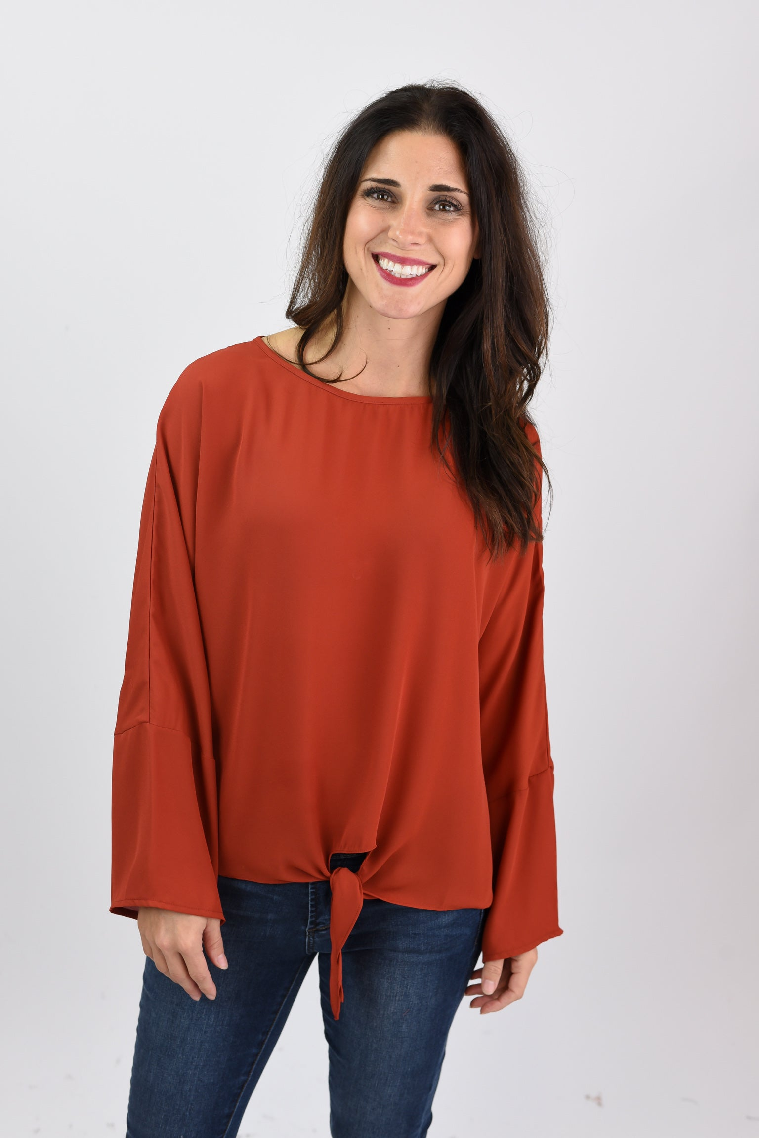 After Party Rust Bell Sleeve Blouse