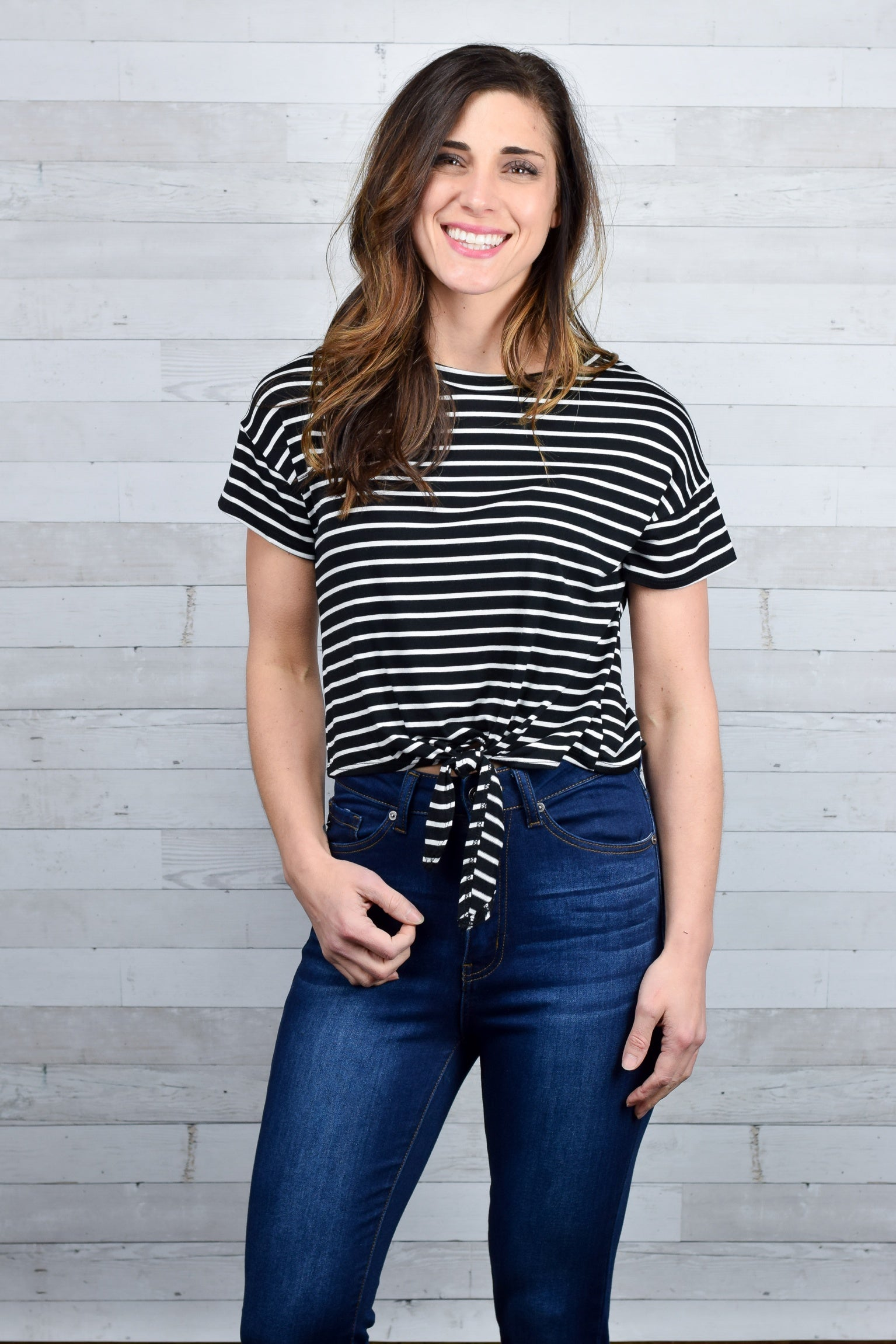 Living in Line Front Tie Striped Tee - Black/Ivory