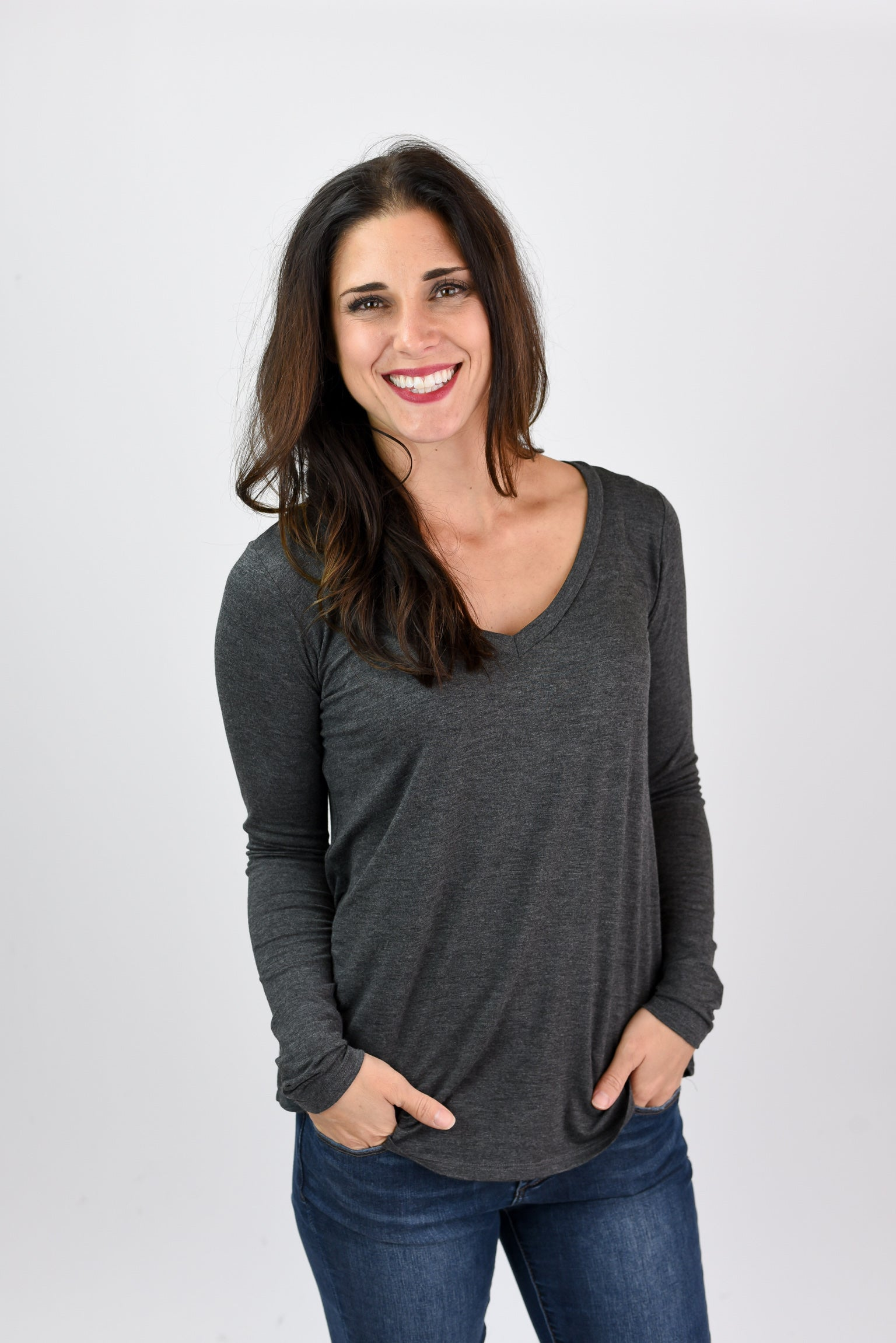 Neighborhood Classic V-Neck Basic Long Sleeve- Charcoal