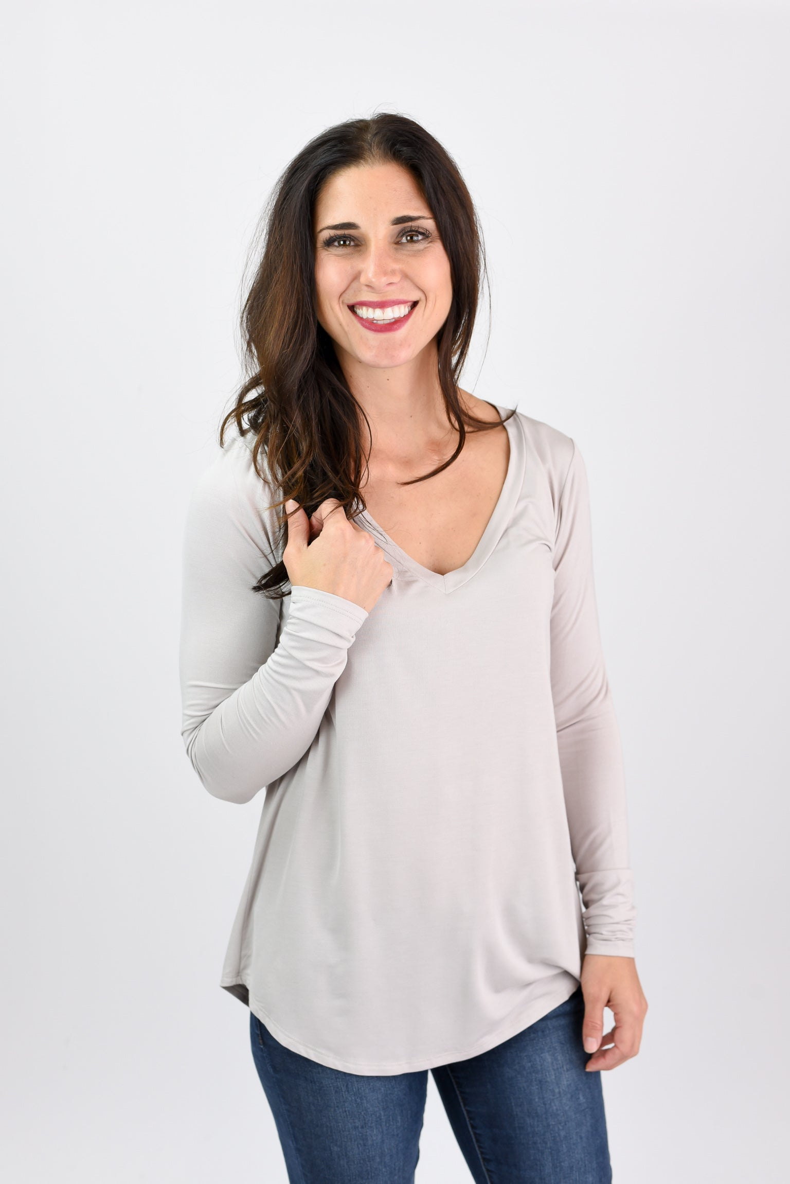Neighborhood Classic V-Neck Basic Long Sleeve- Light Taupe