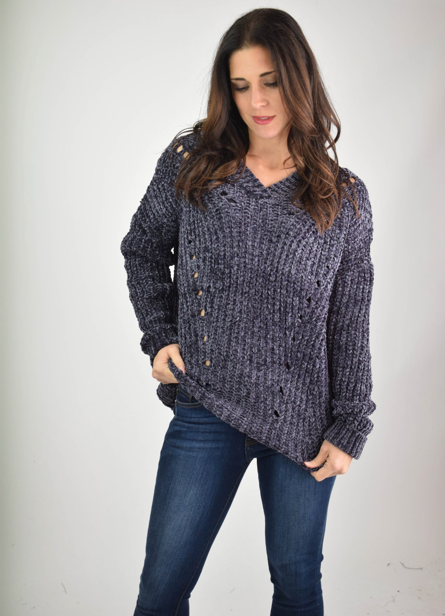 On Reserve Charcoal Chenille V Neck Sweater
