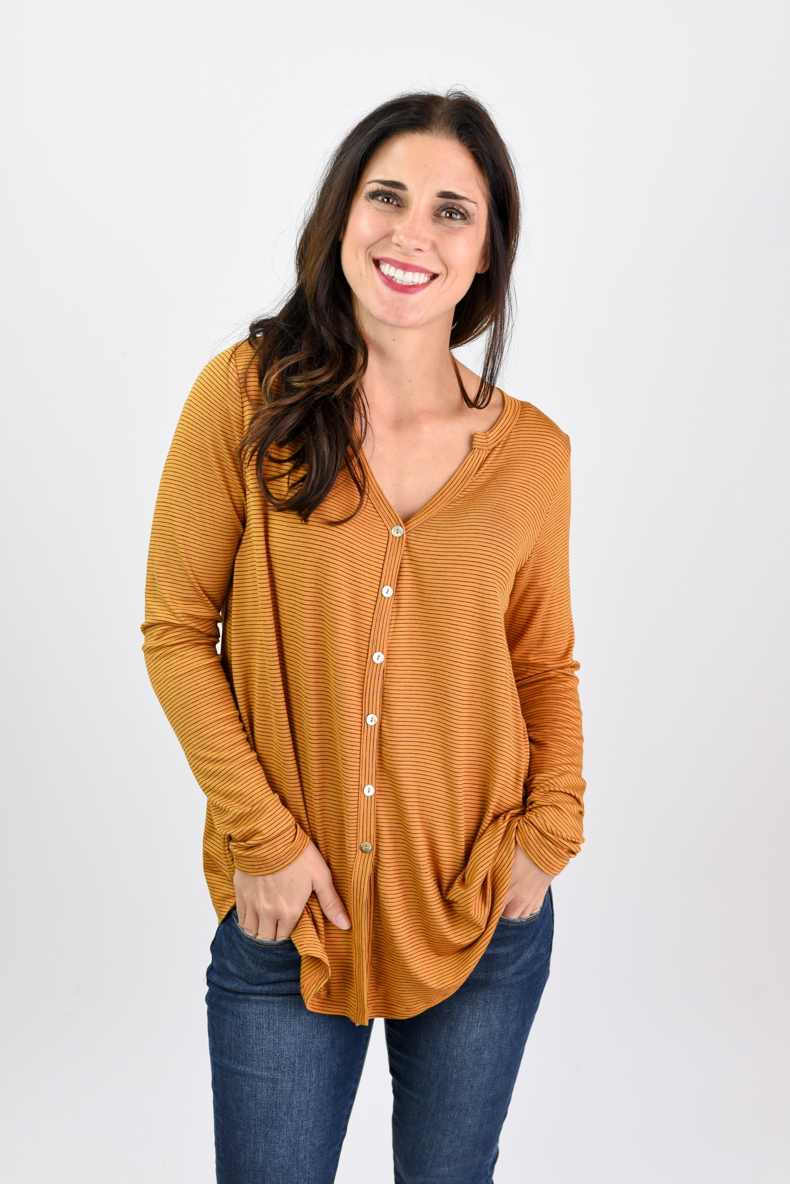 For The Record Mustard Stripe Button Down Long Sleeve Top