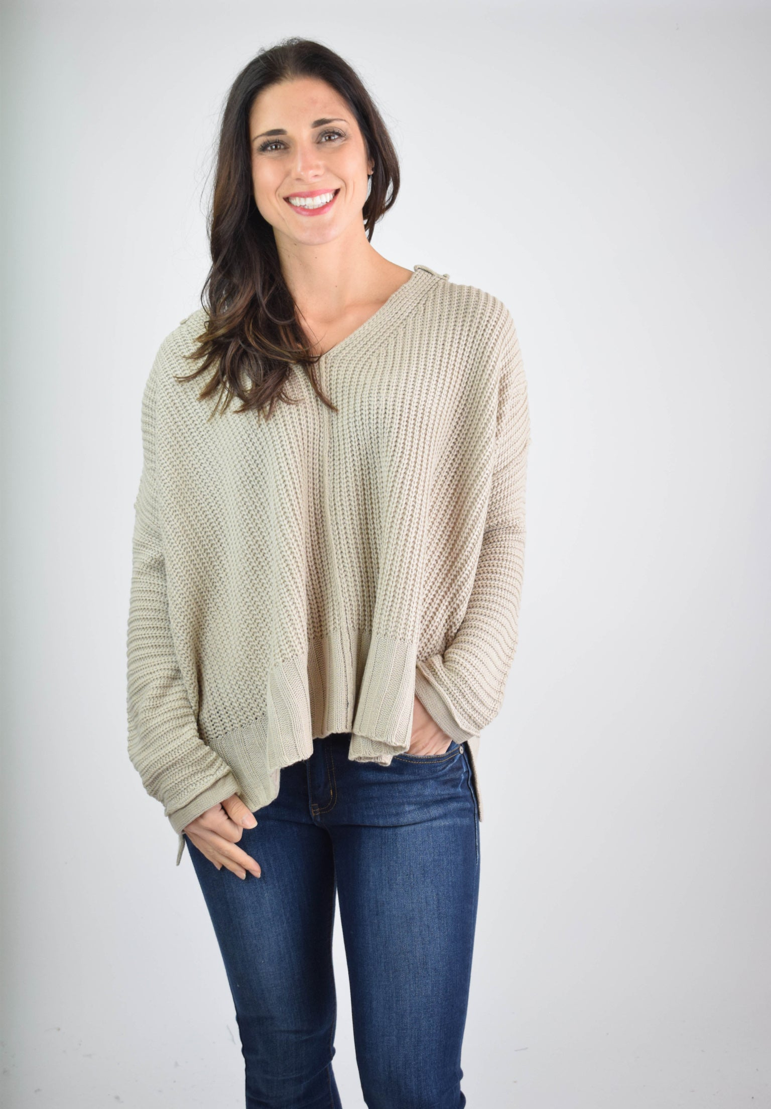 Glowing Reviews Oatmeal V Neck Sweater