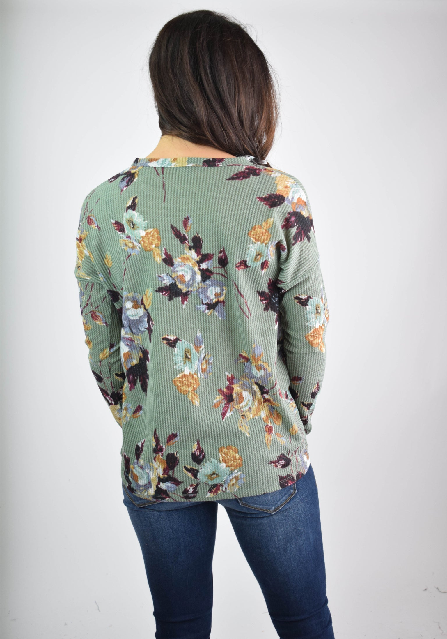Enjoy Your Stroll Olive Floral Waffle Long Sleeve Front Tie