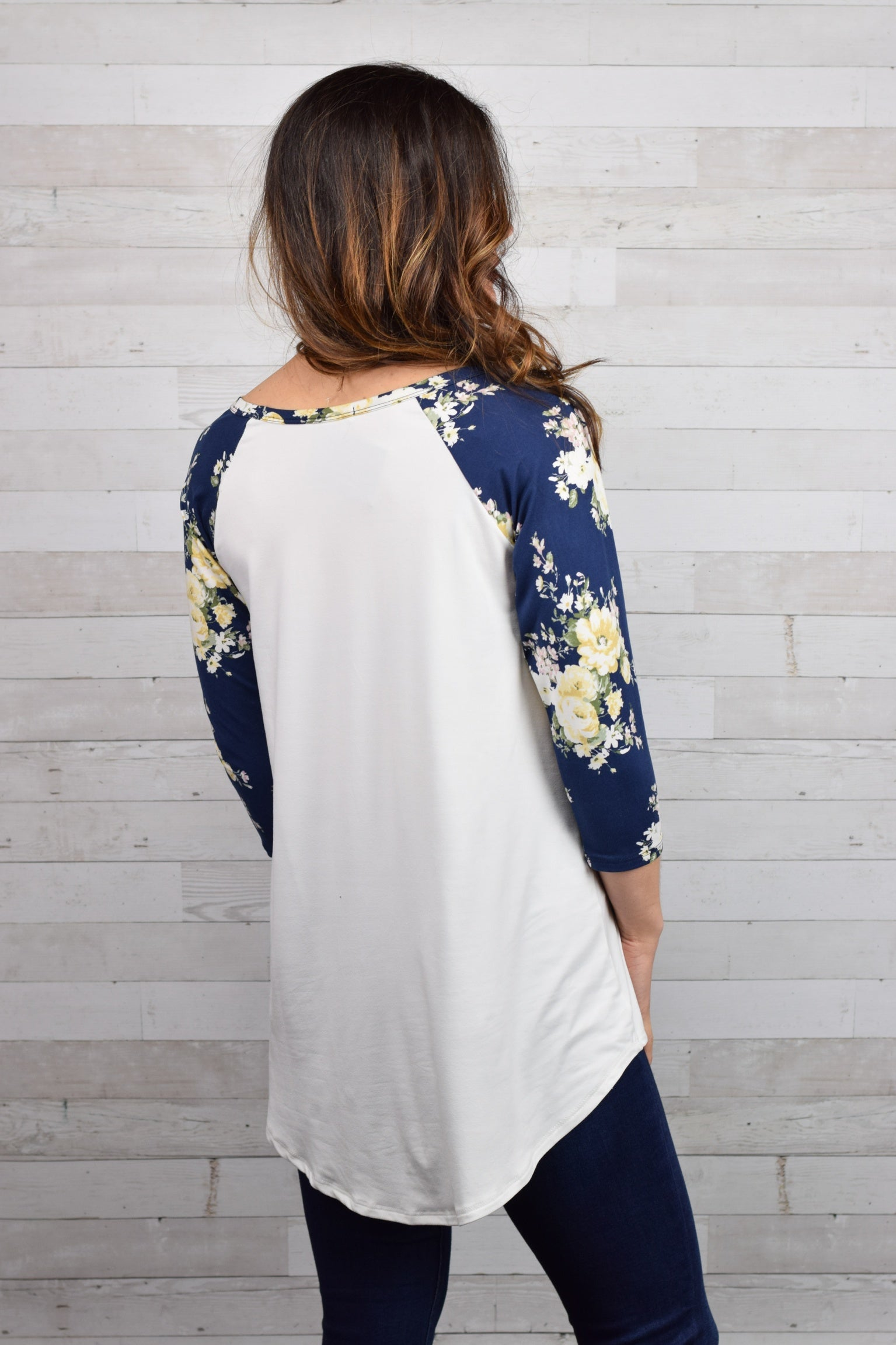 Aiming For The Fences Floral 3/4 Sleeve Top