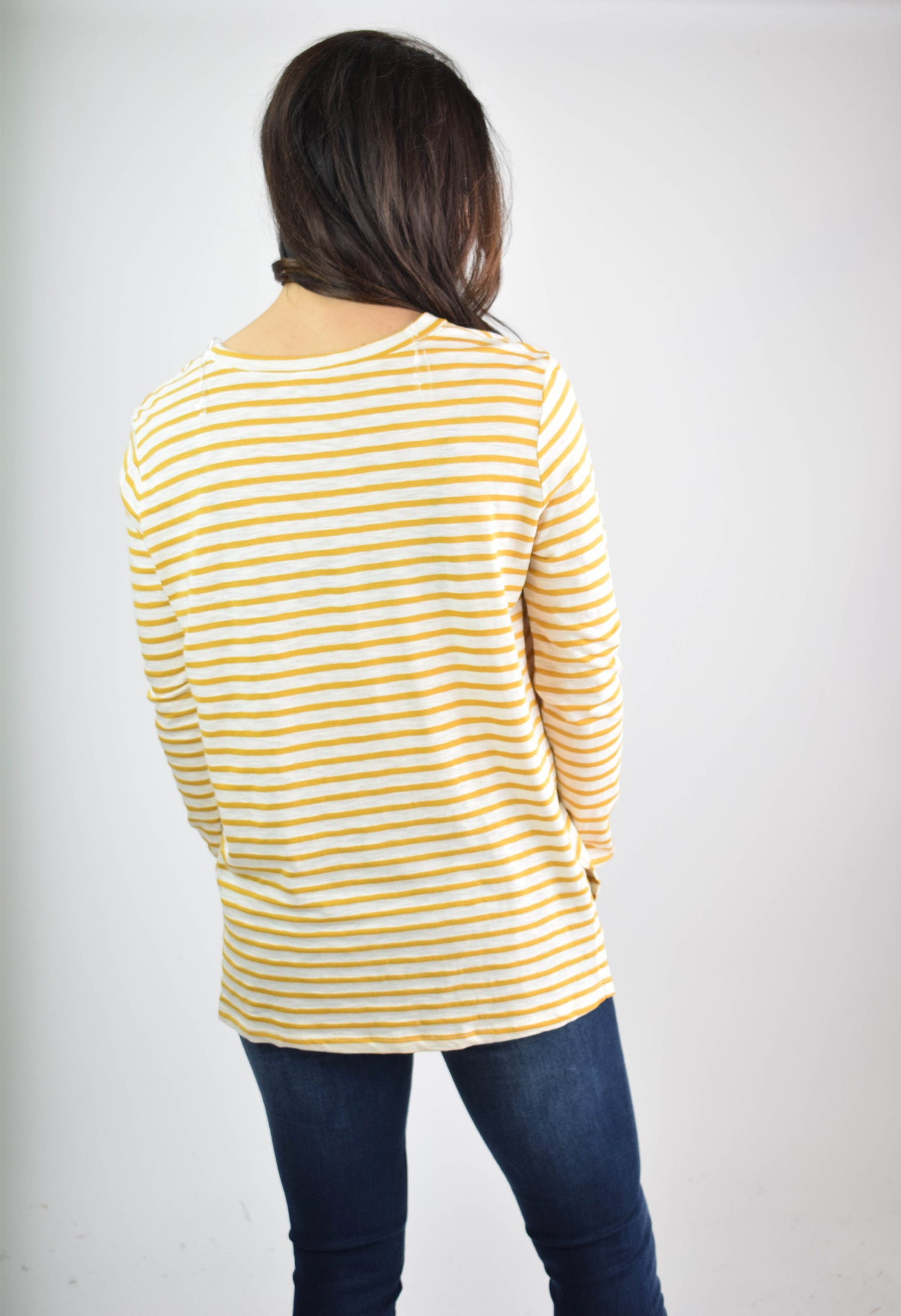 Not Too Late Mustard Stripe Long Sleeve Top