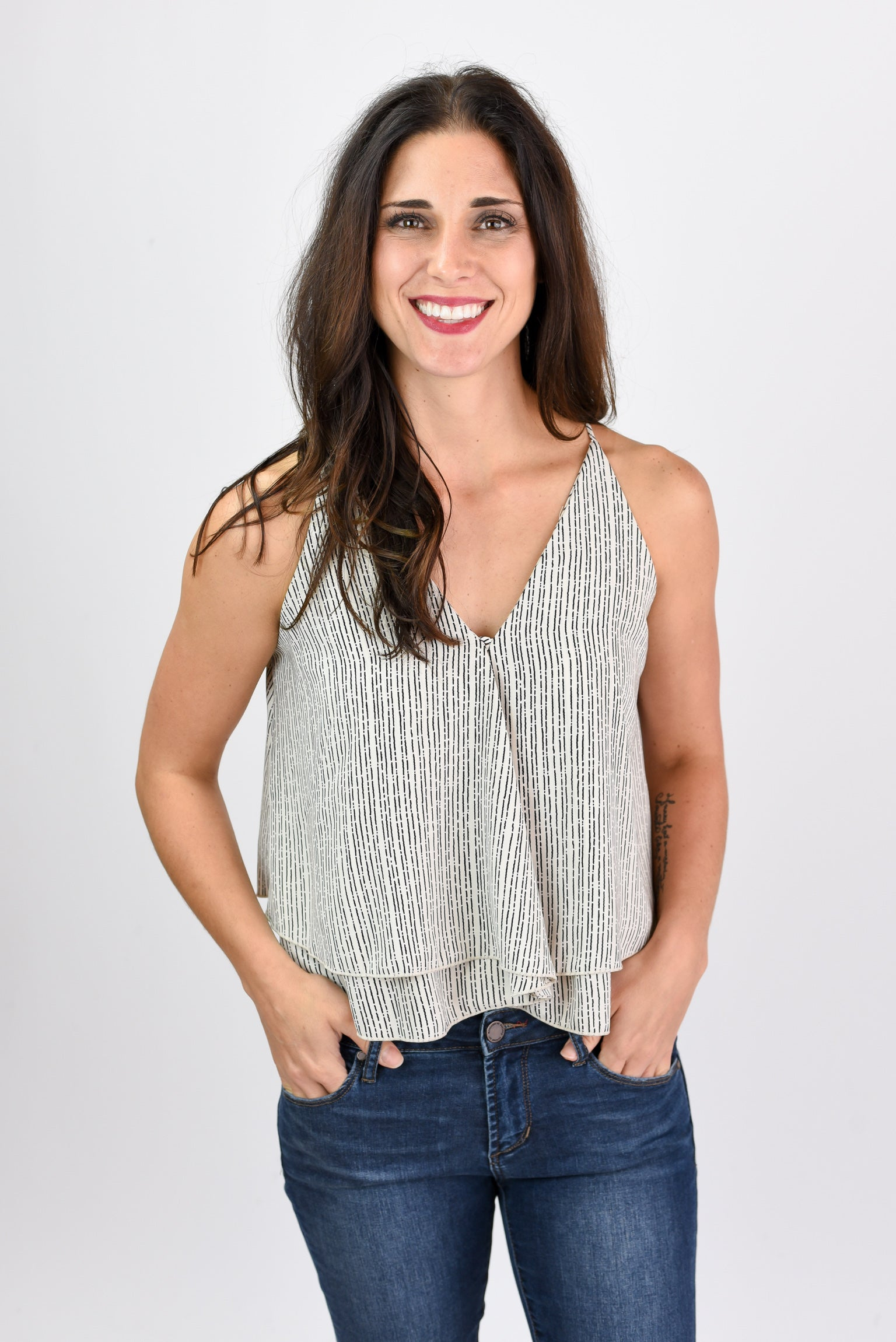 Ignite A Fire Ivory Stripe Wrap Tank