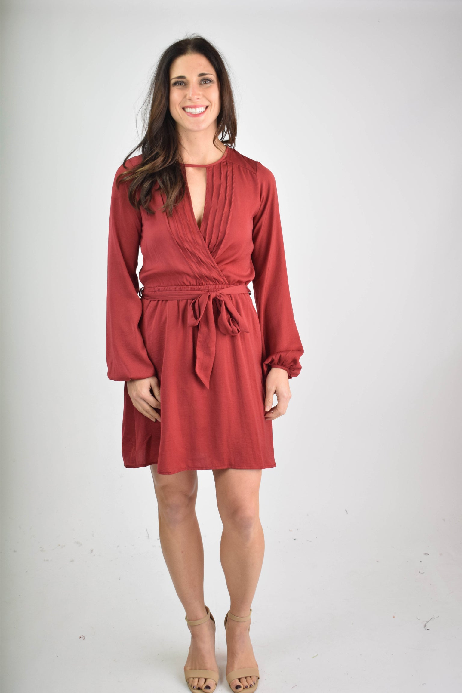 Center Of Your Love Red Keyhole Short Dress