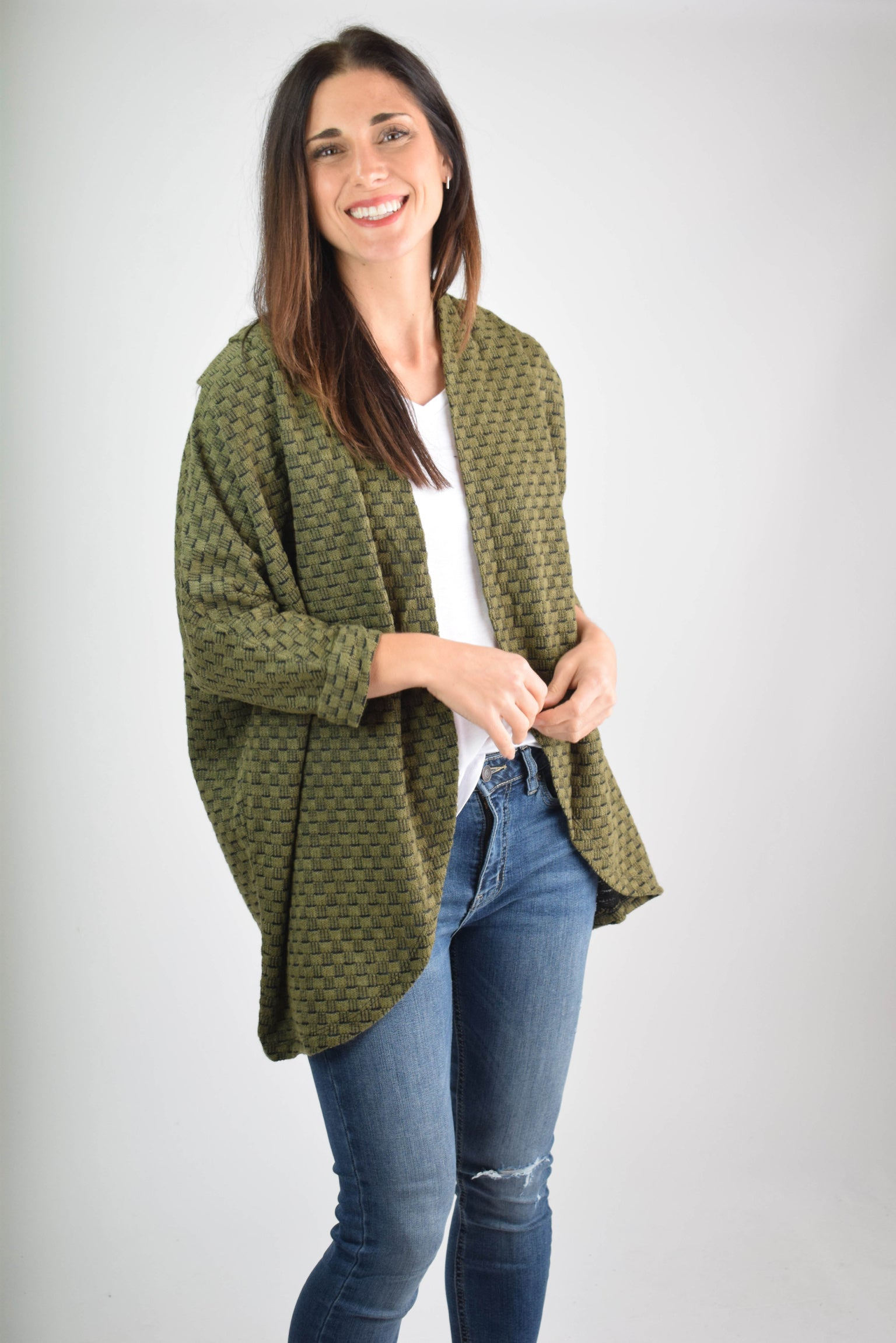 My Best Shop Olive Block Cardigan