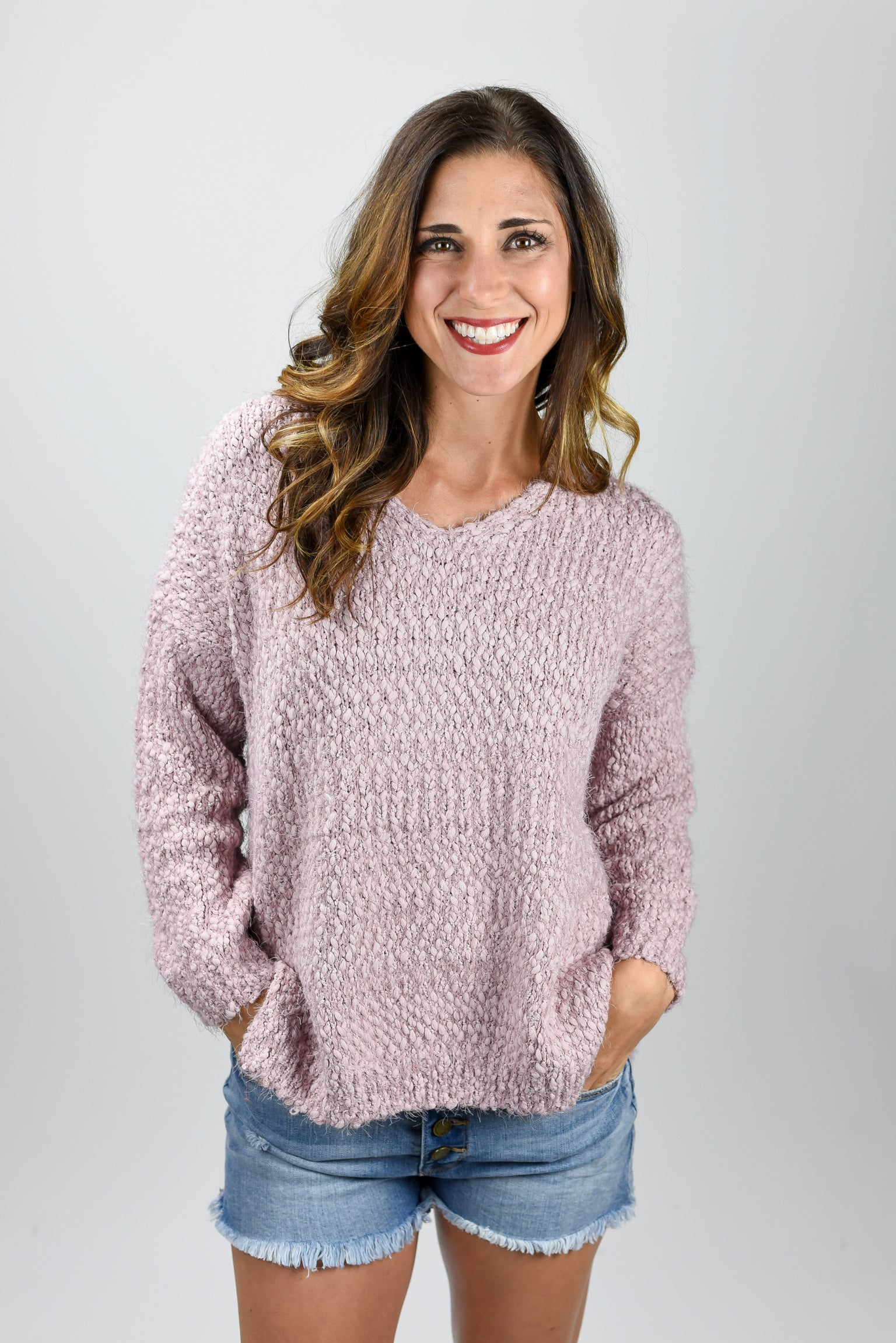 Broken Halos Popcorn Vneck Pullover Sweater- Light Mauve