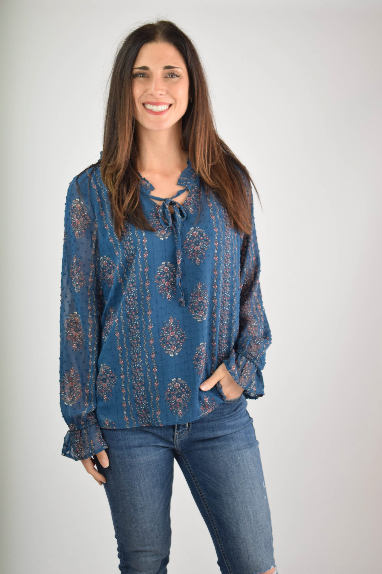Going My Way Floral Blue Blouse
