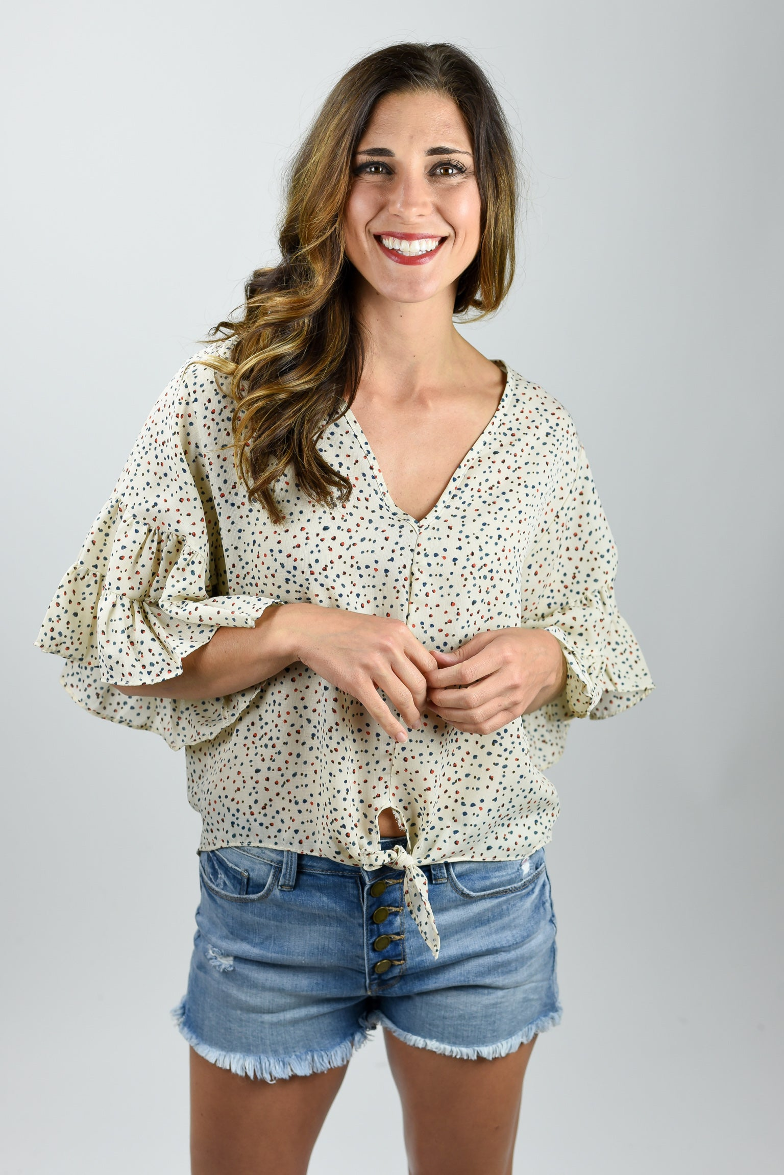 In My Groove Ivory Dotted Front Tie Top