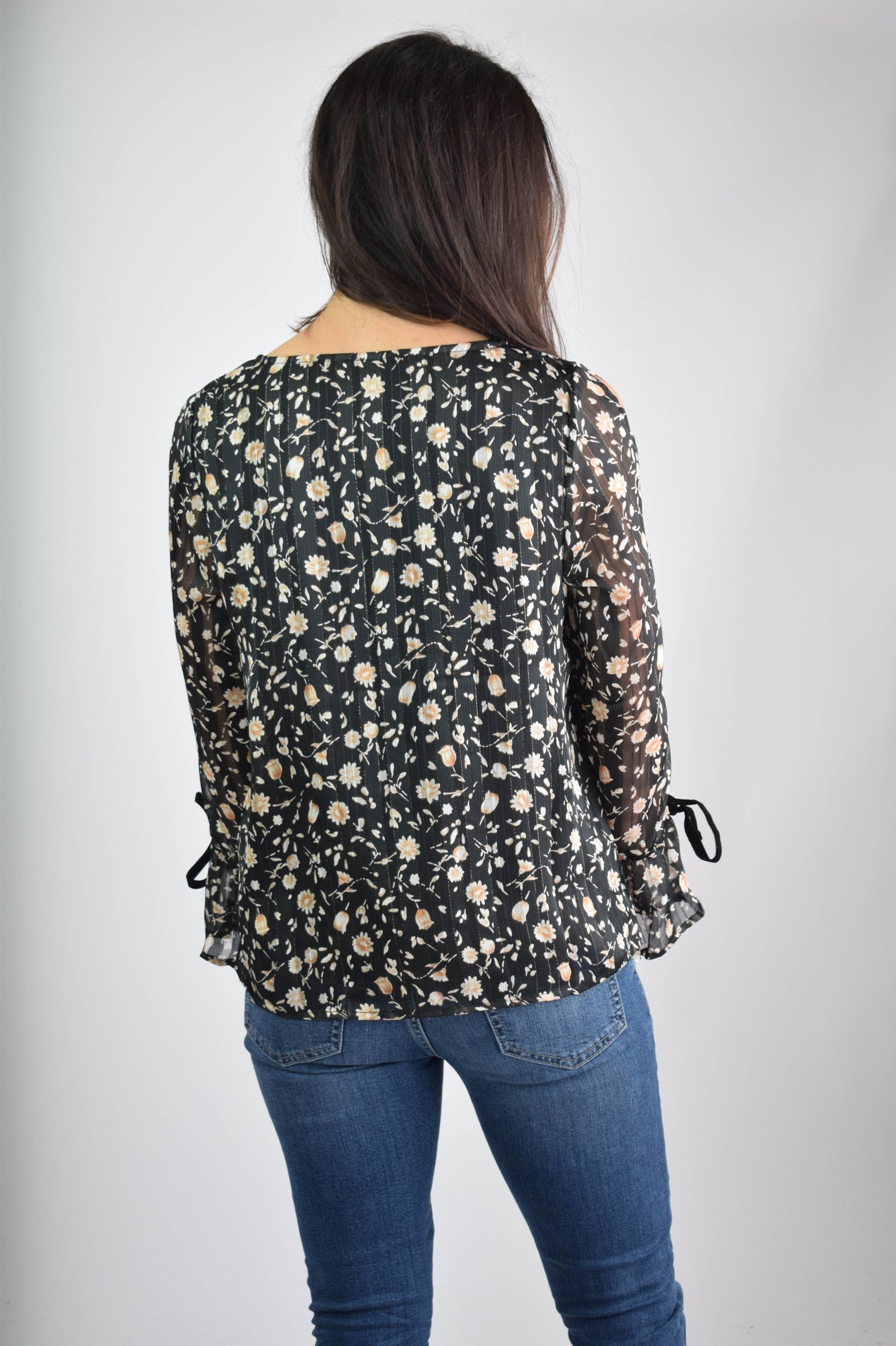 Hints of Sparkle Black Floral Open Sleeve Blouse