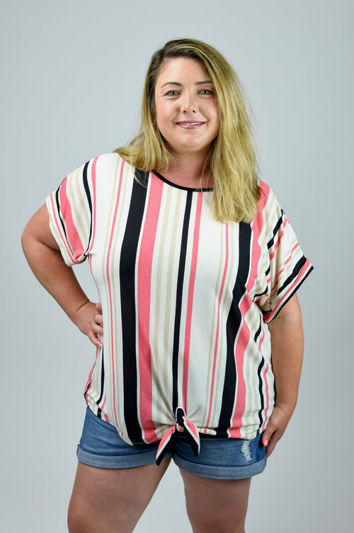 Taking The High Road Front Knot Stripe Tee- Curvy