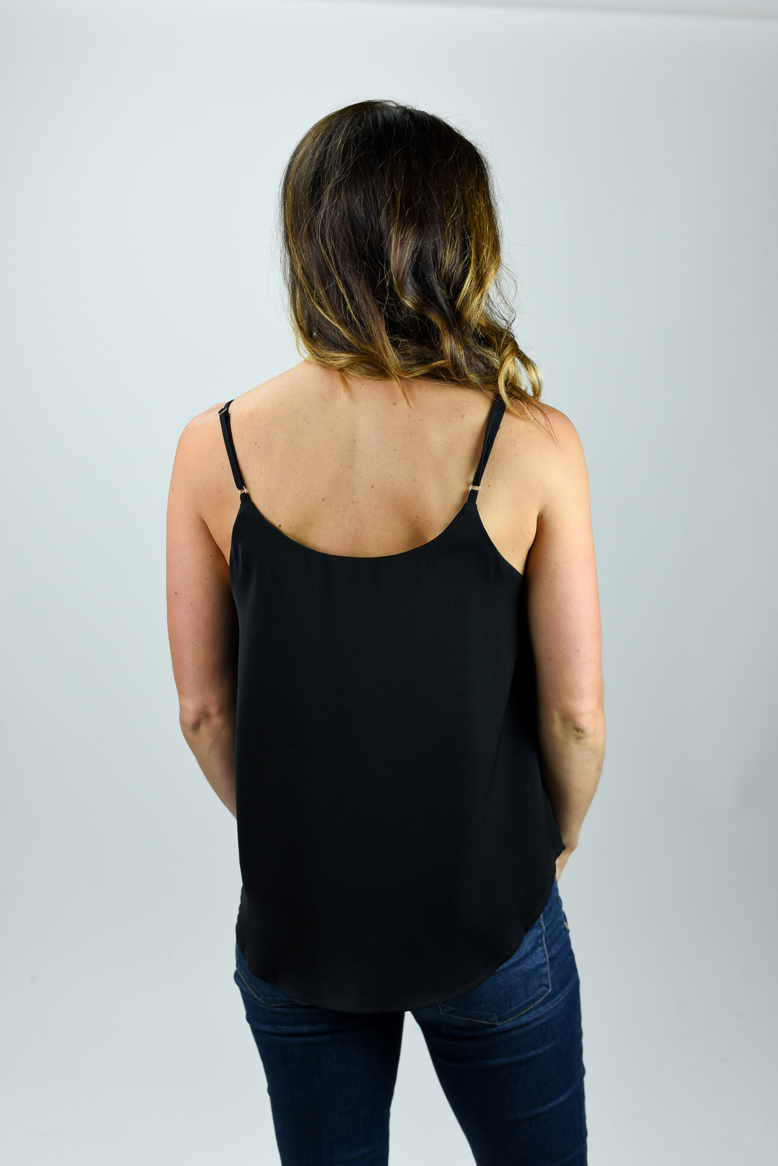 The Deep End Lace Trim Black Cami