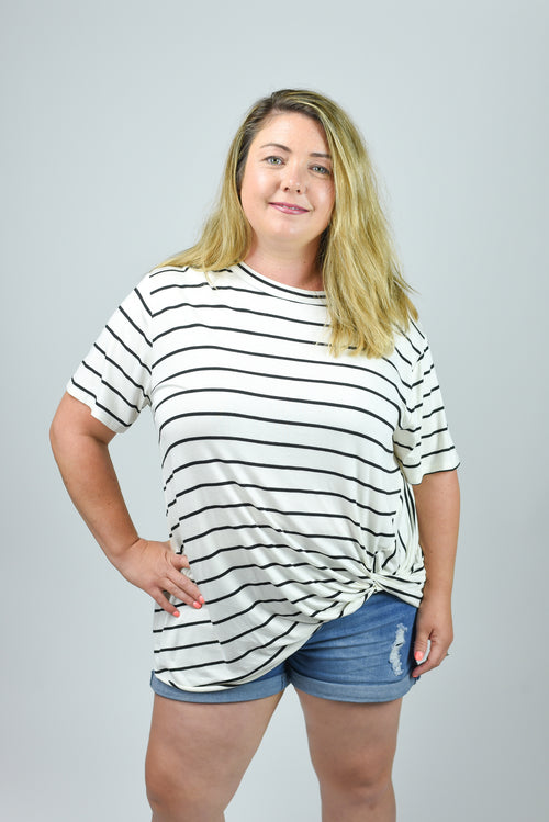 The Original Ivory with Black Stripes Front Twist Tee - Curvy