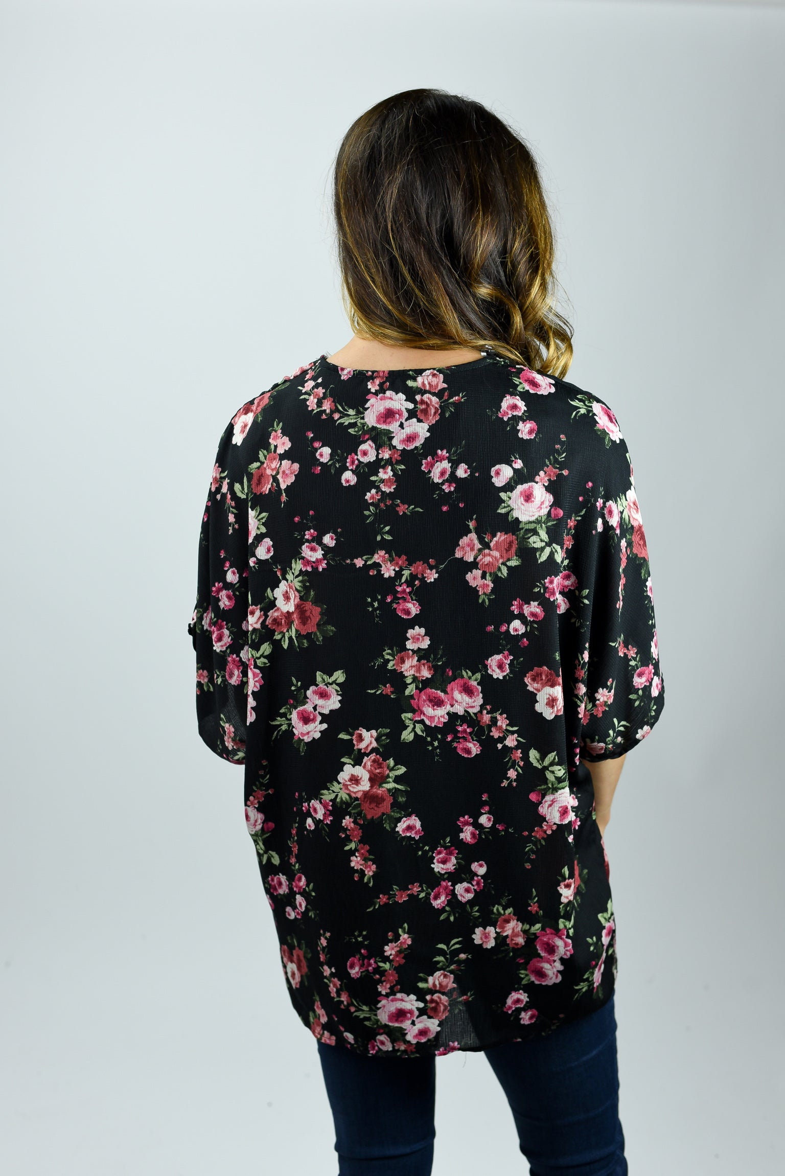 The Path Moving Forwards Floral Black Kimono