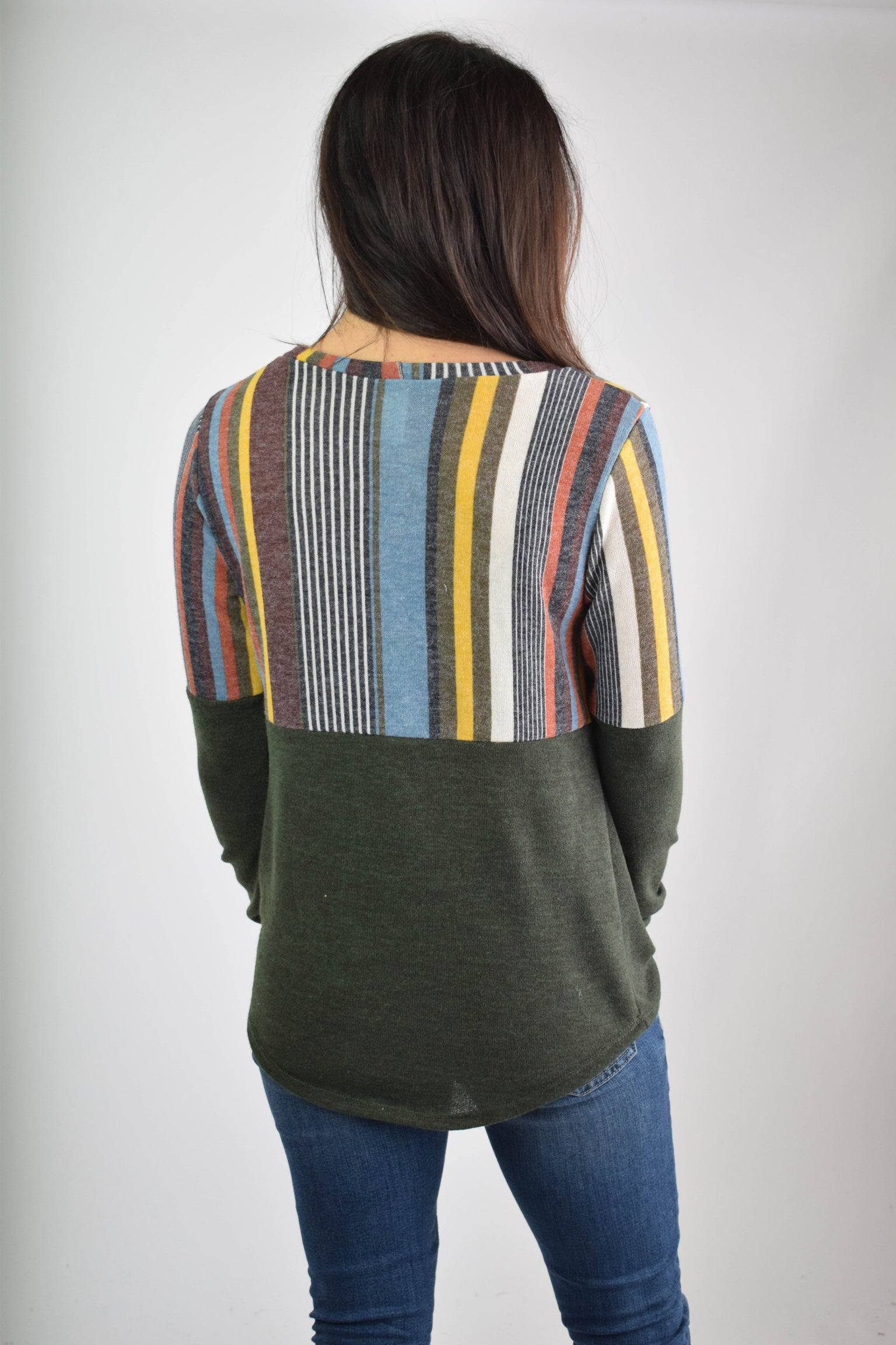 Free For All Multi Stripe Color Block Olive Long Sleeve Front Twist Top