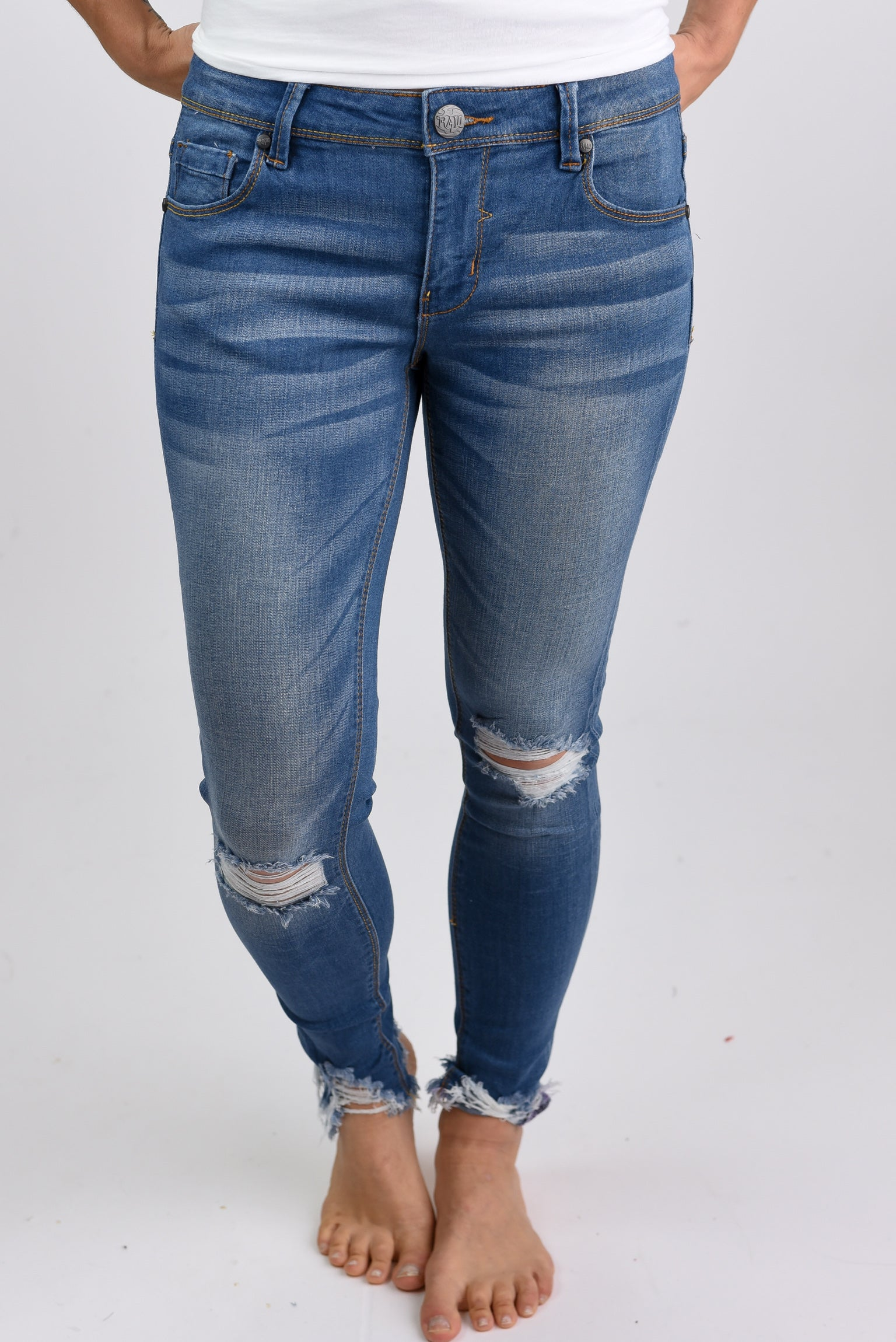 Learn To Let Go Light Wash Distressed Skinny Jeans