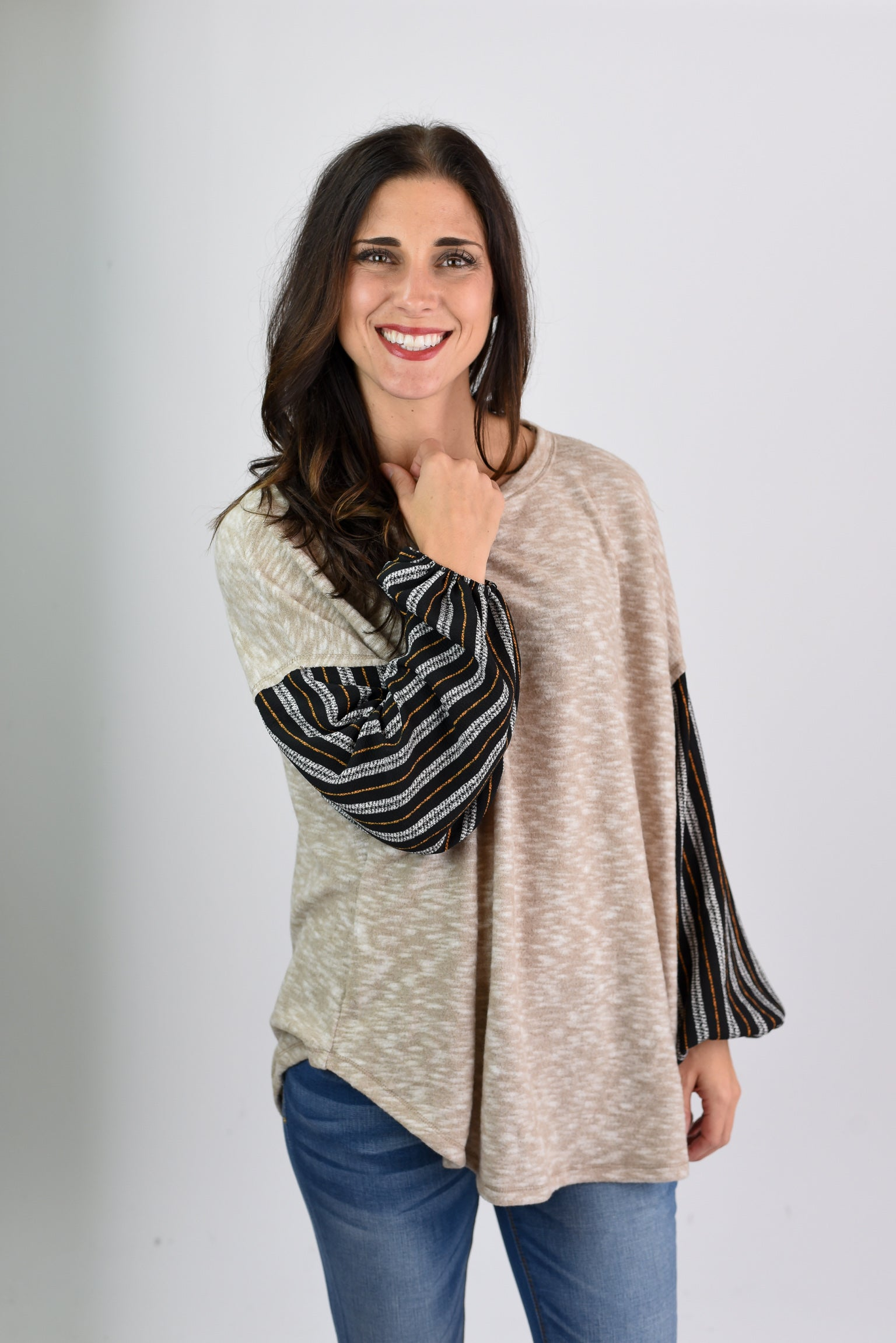 My Biggest Fans Oatmeal Contrast Sleeve Top