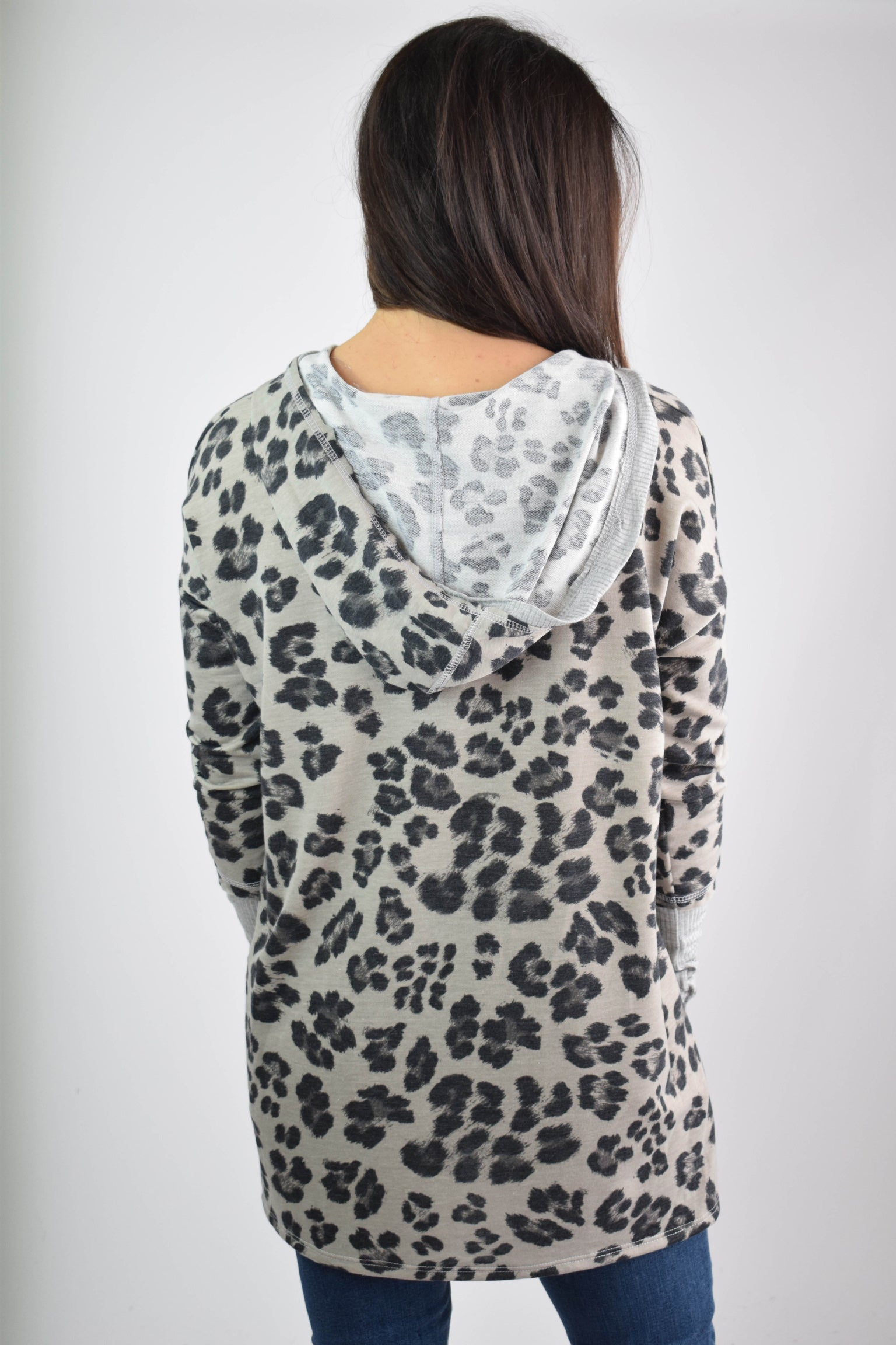 Fall Into Place Grey Leopard V Neck Hoodie