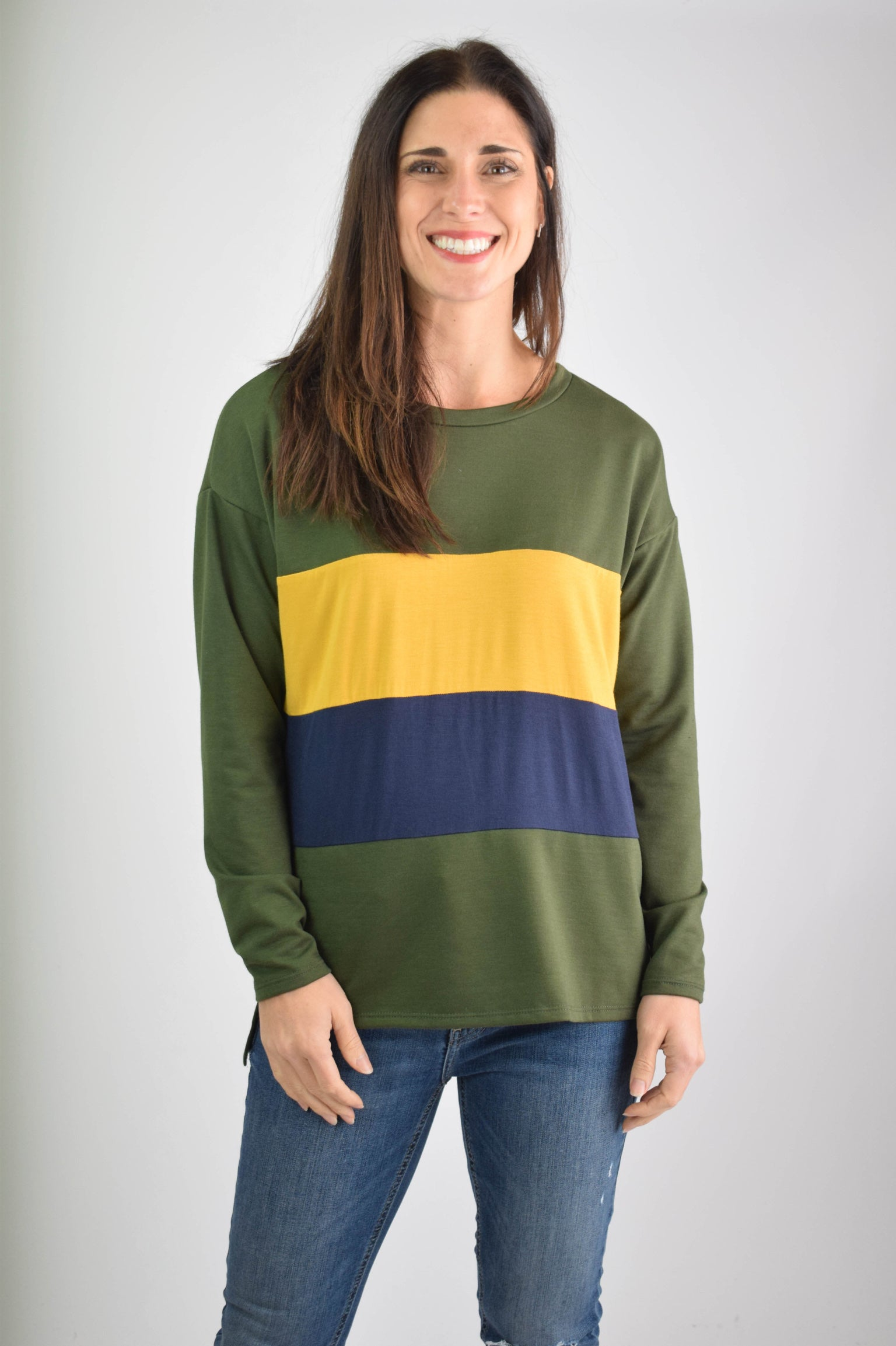 Endless Warmth Olive/Mustard/Navy Color Block Top