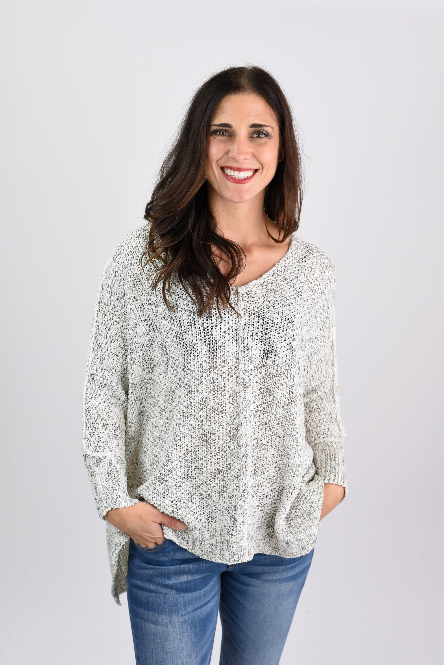 All I Want Ivory Speckled Vneck Sweater