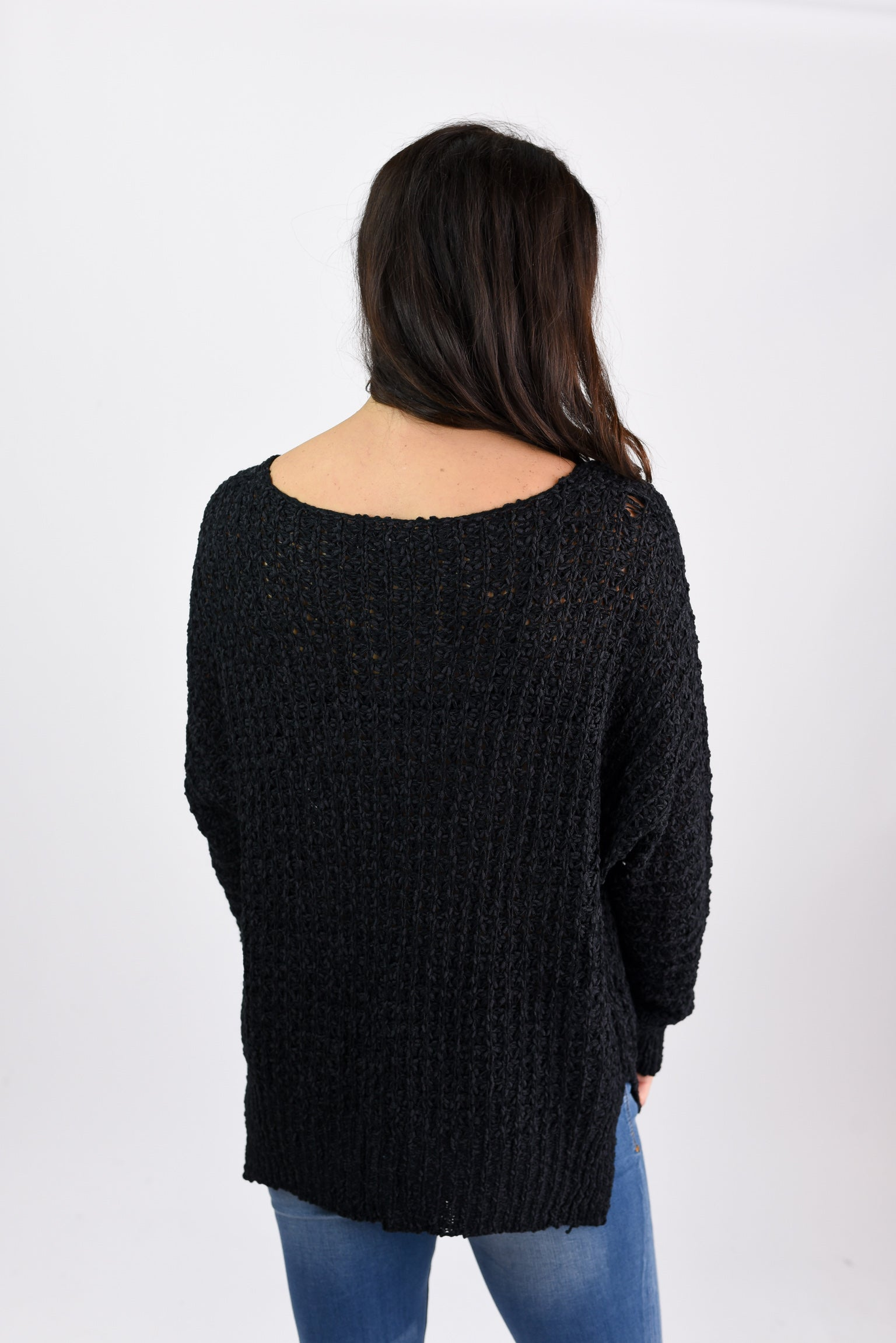 All I Want Loose Knit V-neck Sweater- Black
