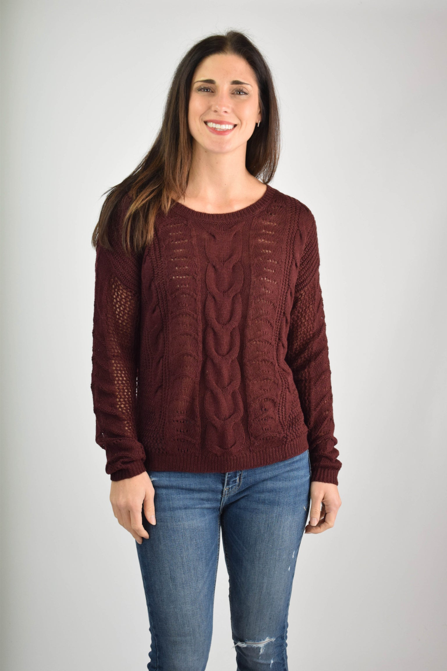 Blessing From Above Knit Sweater- Burgundy
