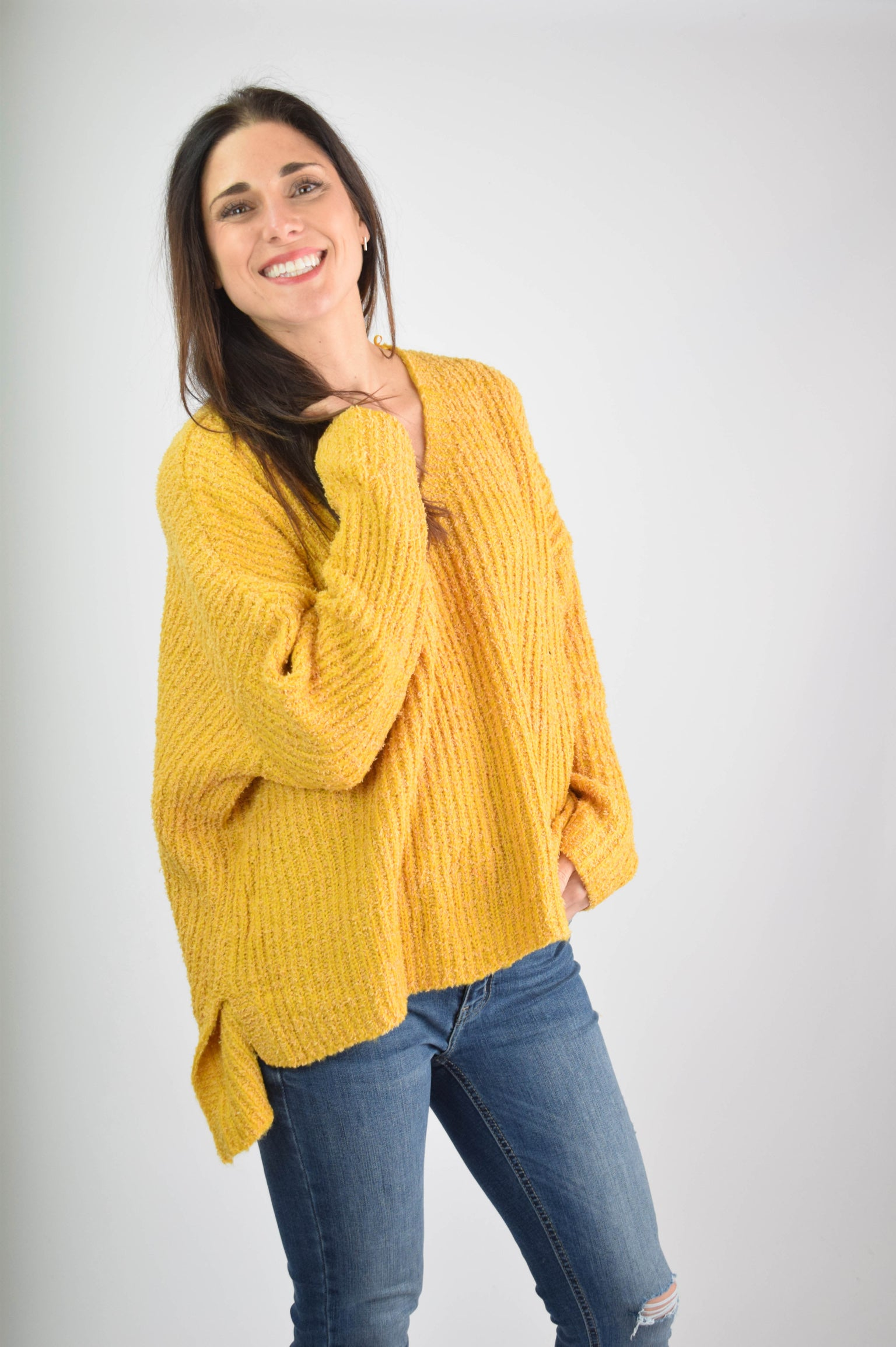 First Time In A Long Time Mustard Sweater