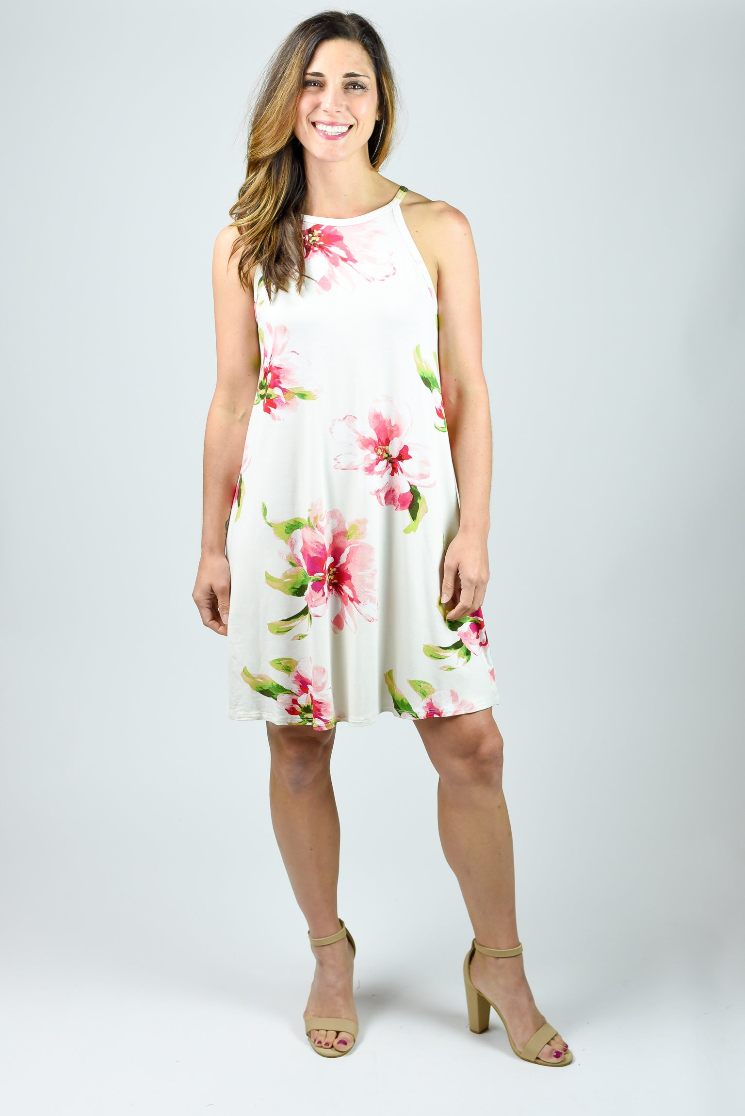 Bouquet Babe Ivory Floral Halter Dress