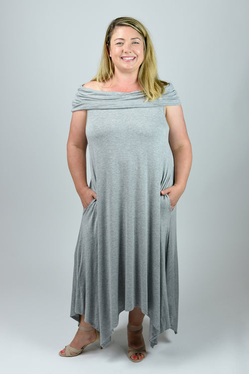 Girl's Day Date Grey Off Shoulder Dress- Curvy