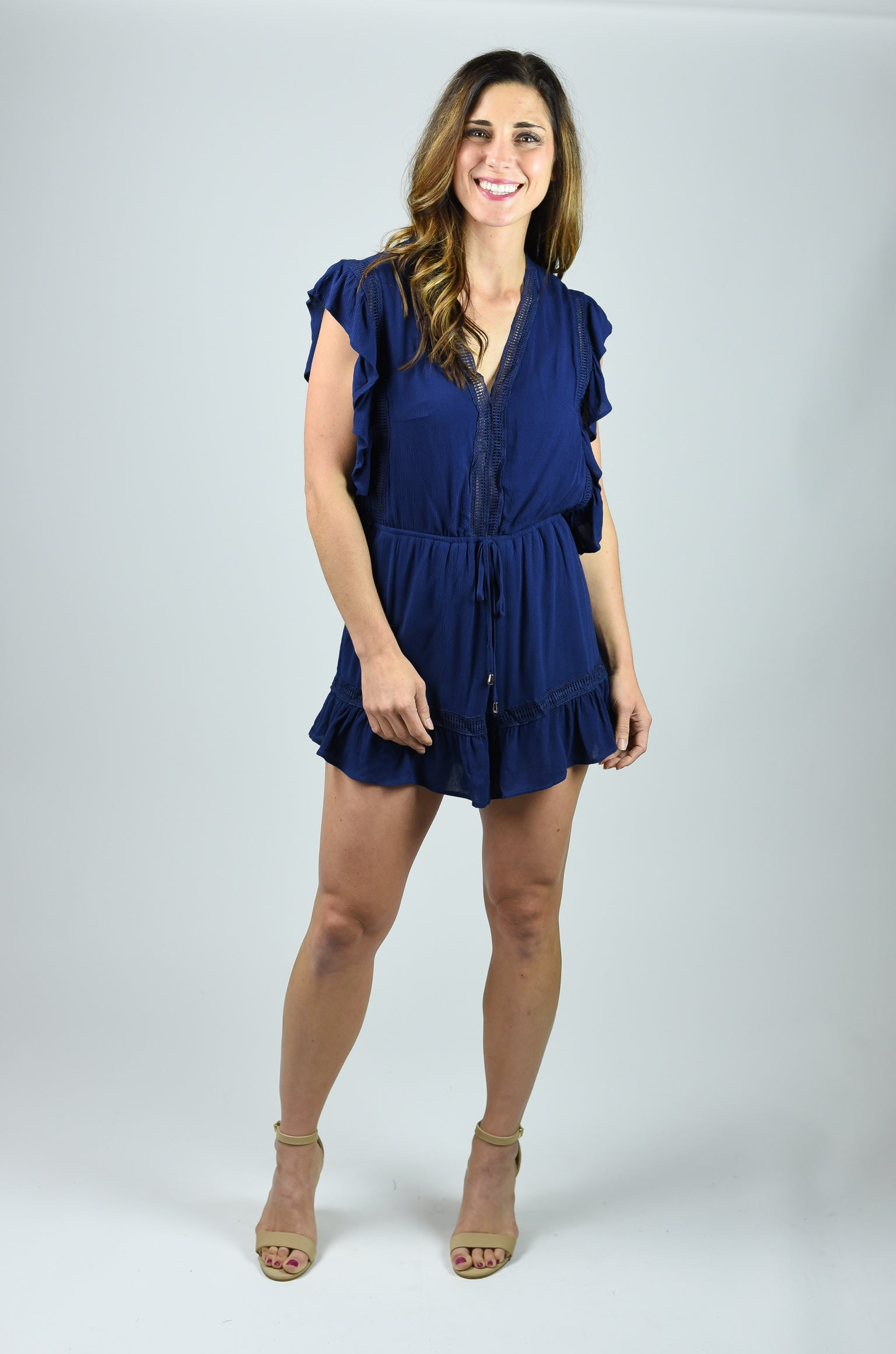 Want You Back Navy Ruffle Romper
