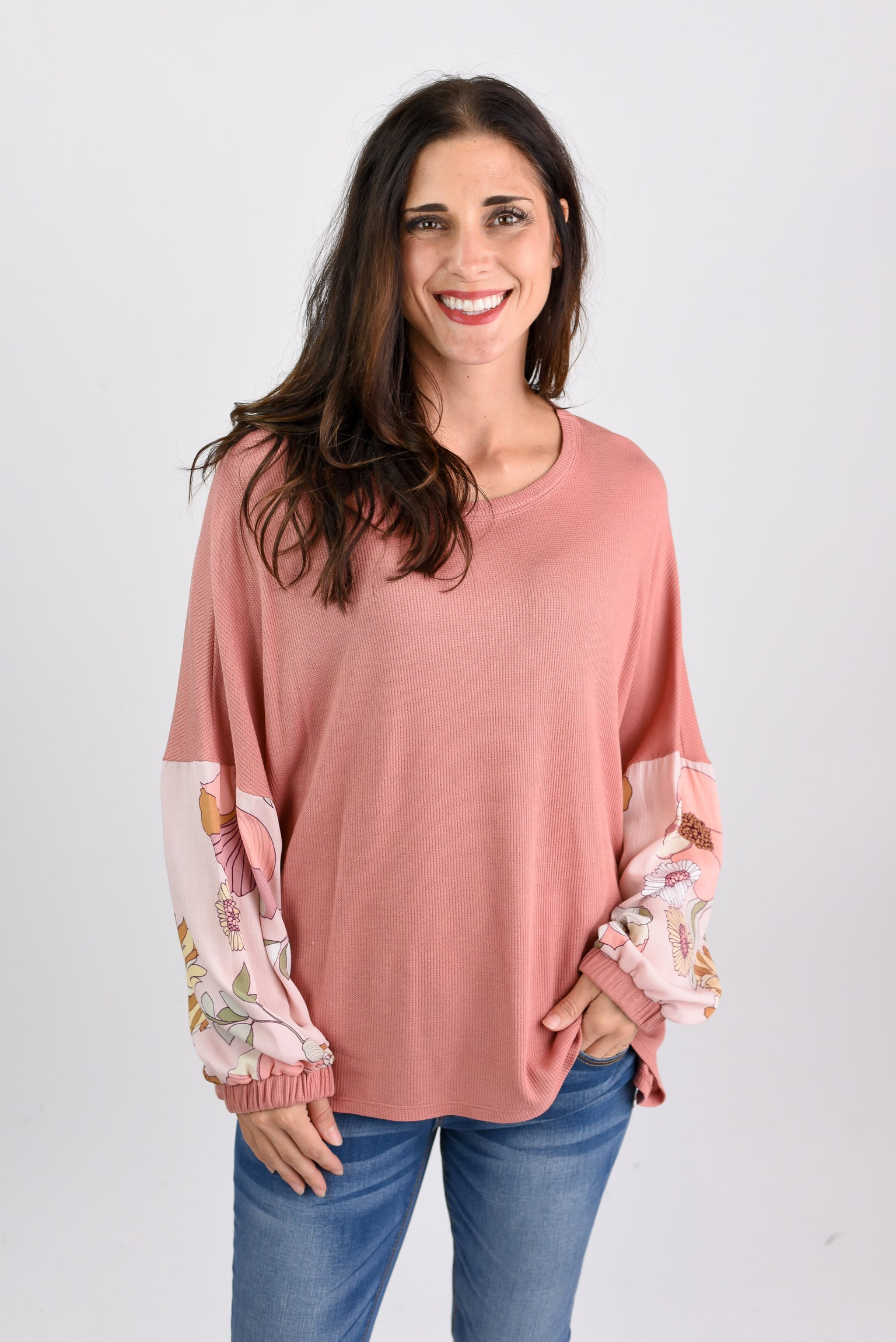 Breathtaking Views Mauve Pattern Ballon Long Sleeve Top