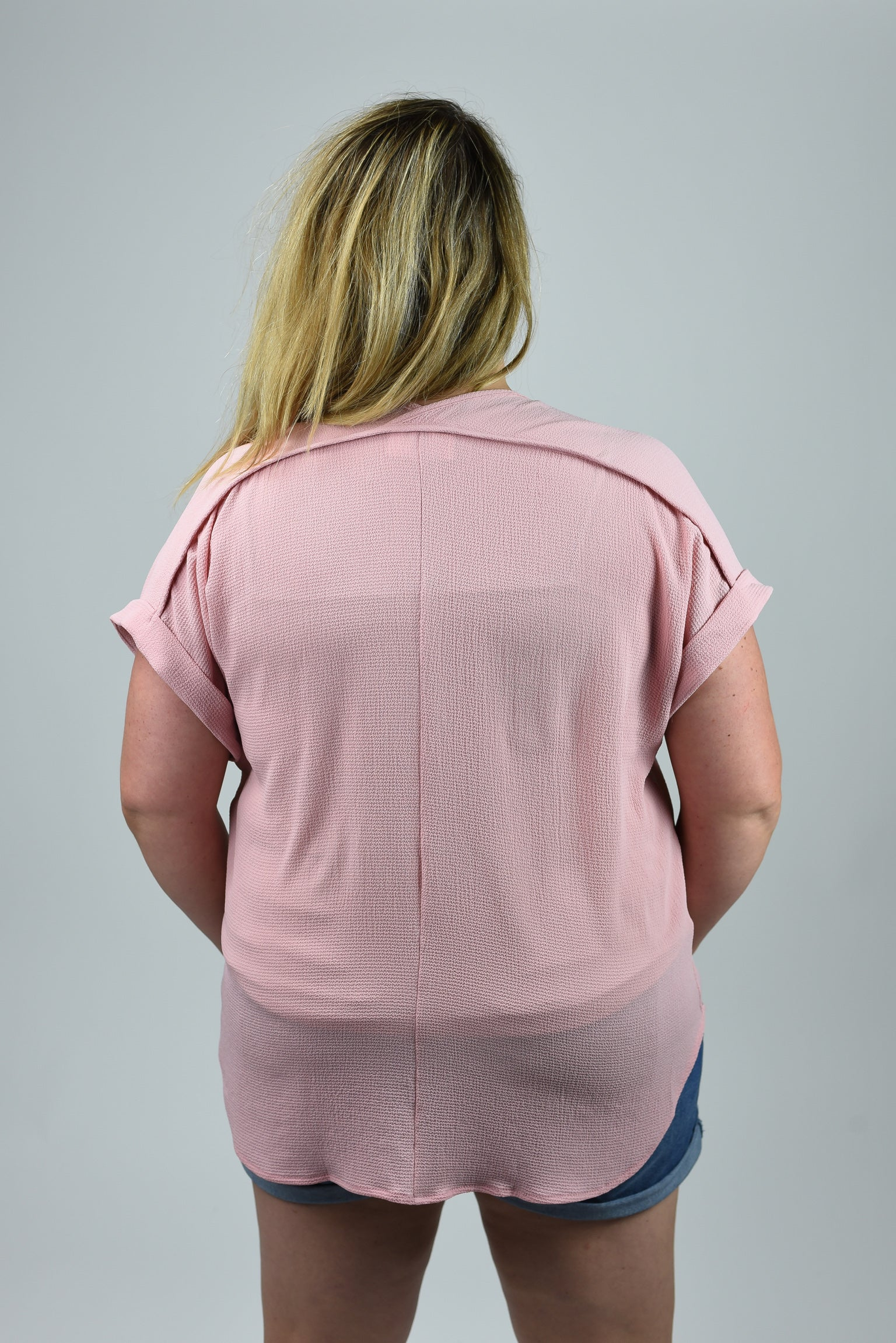 Such A Rush Vneck Curvy Cuffed Sleeve Tee- Dusty Pink