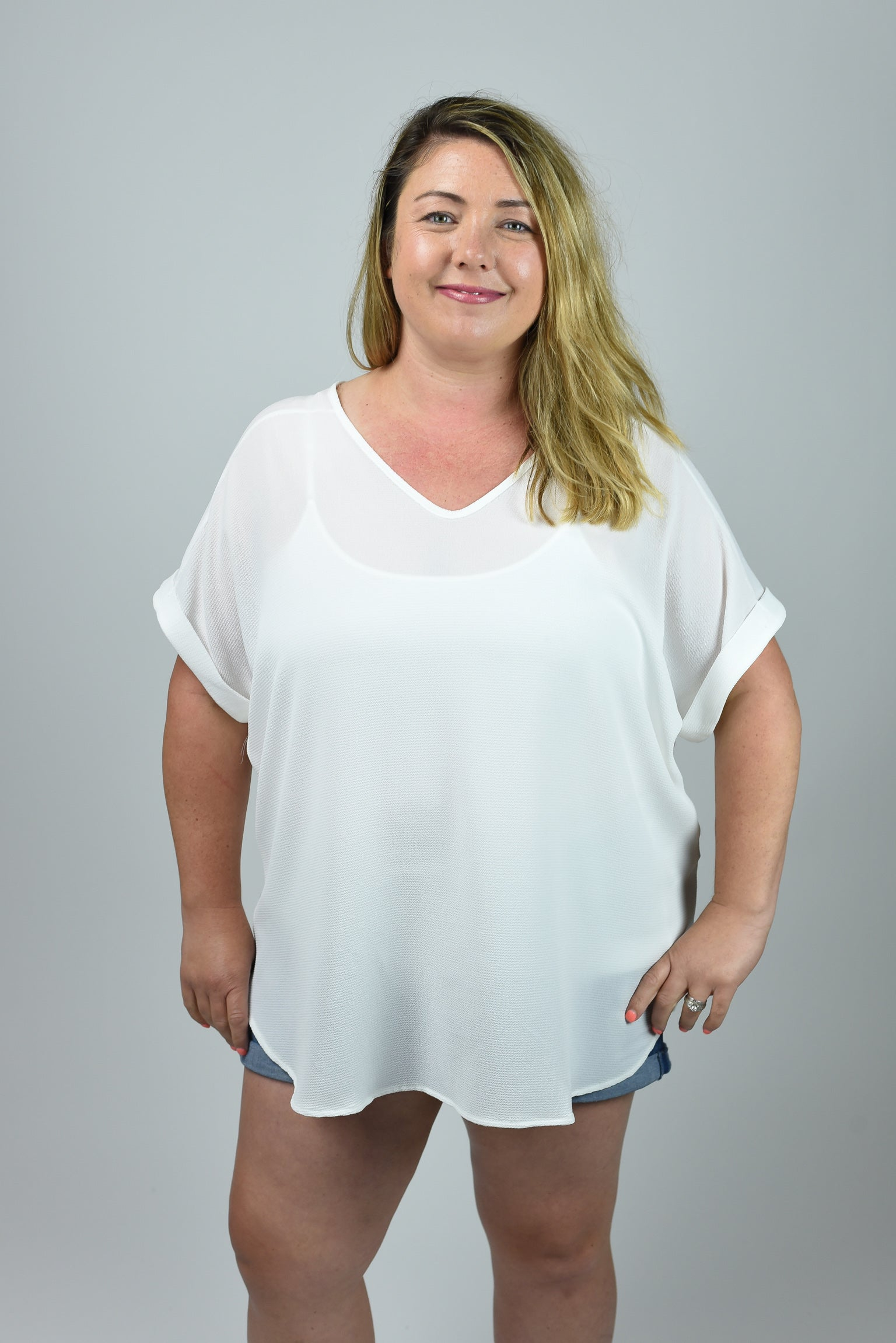 Such A Rush Vneck Curvy Cuffed Sleeve Tee- White