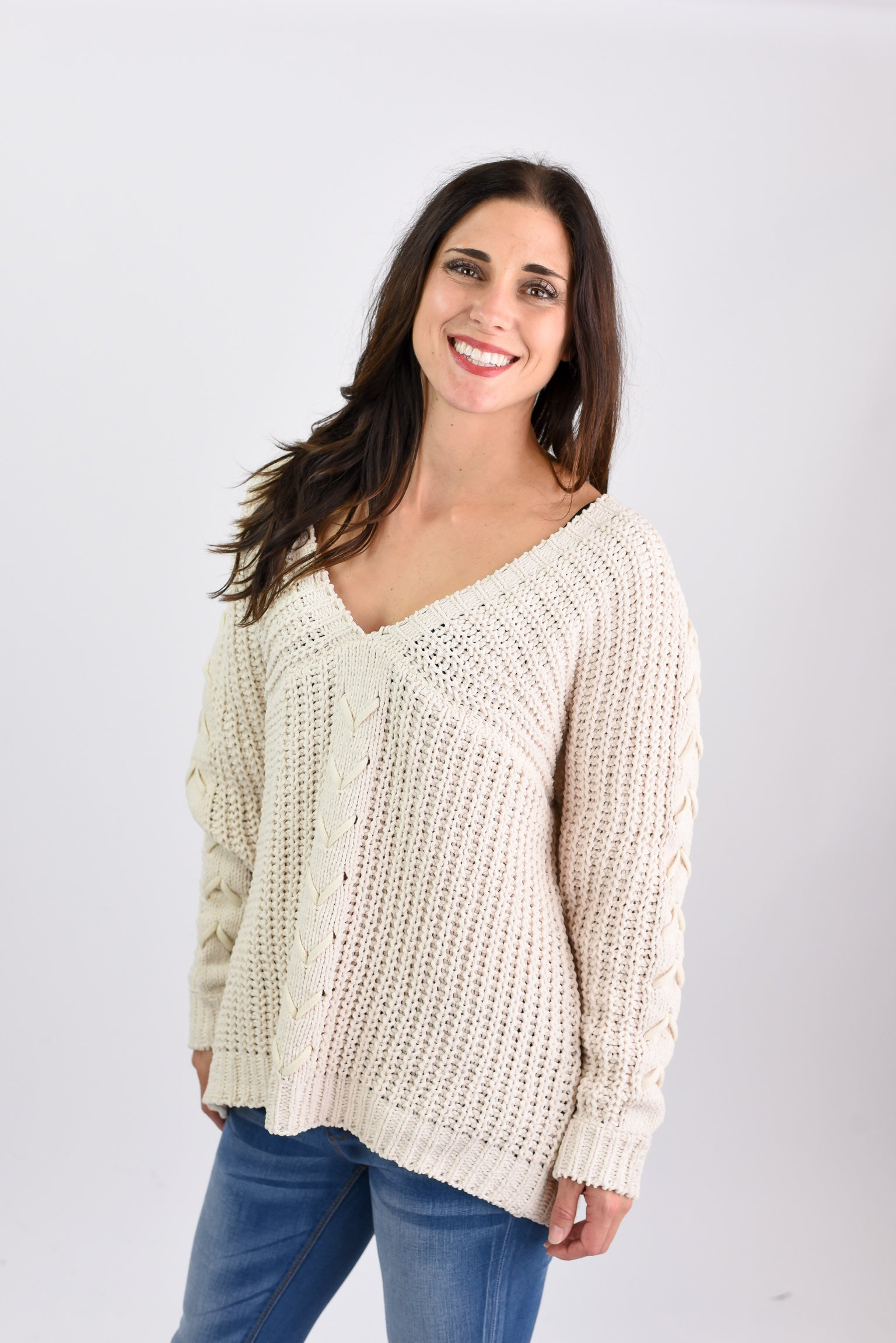 Breathtaking Braided Double V- Neck Chenille Cream Sweater