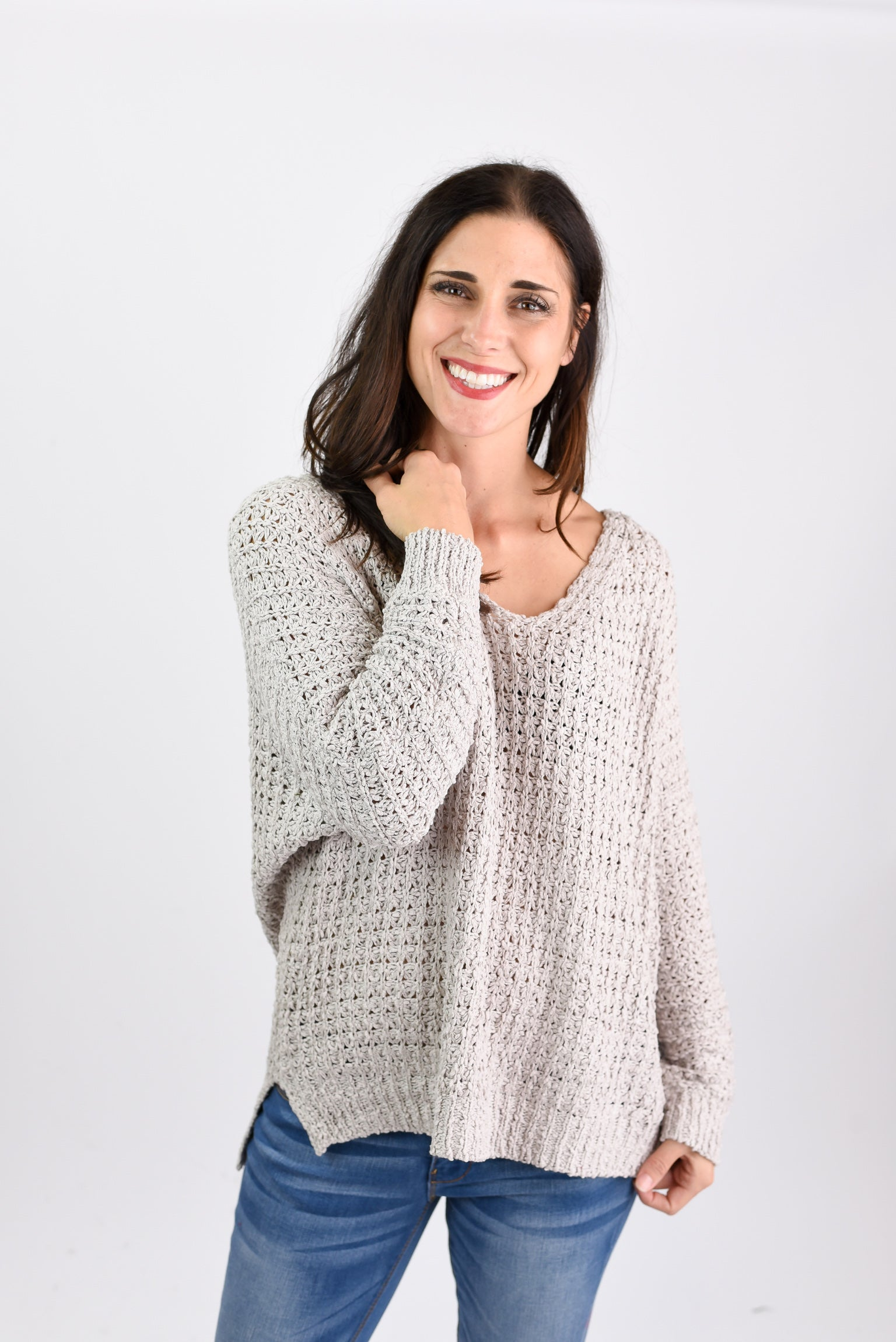 All I Want Loose Knit V-neck Sweater- Taupe