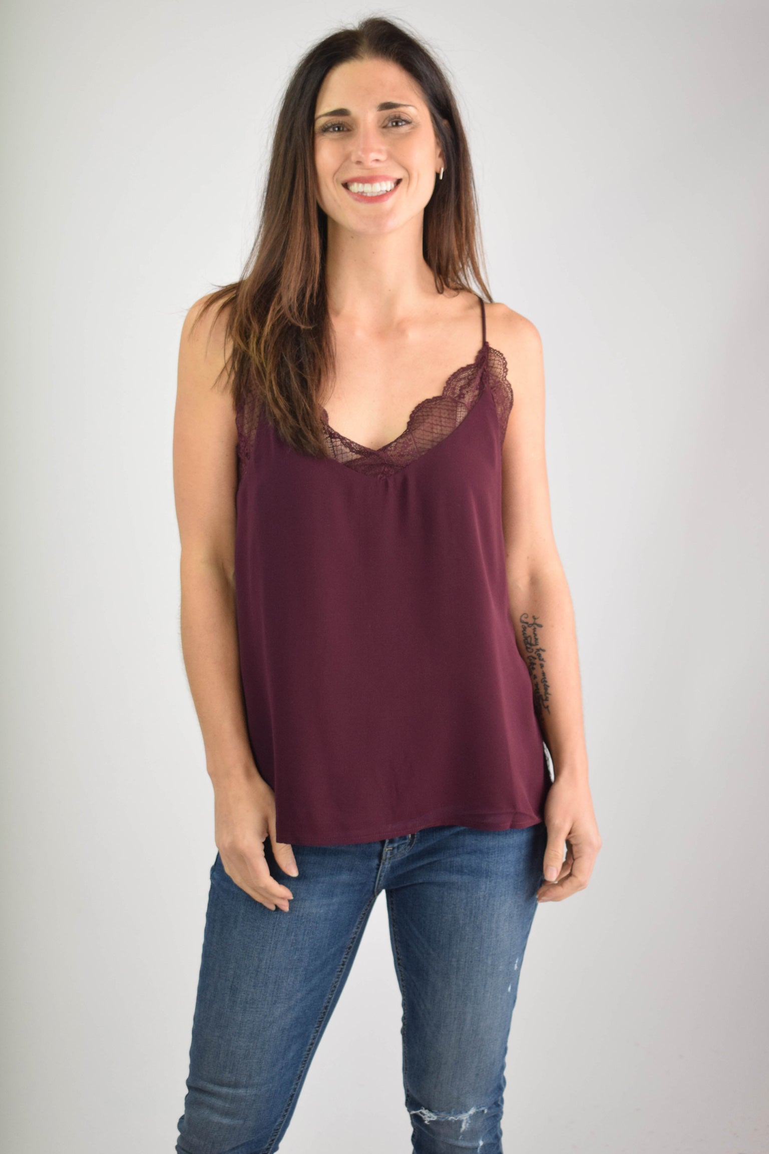 Almost Mine Peek A Boo Lace Tank - Wine