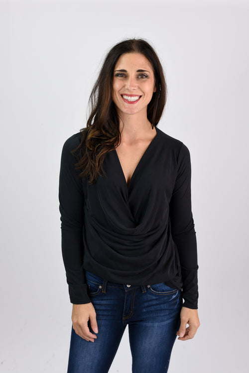 Working For It Black Front Drape Long Sleeve Top