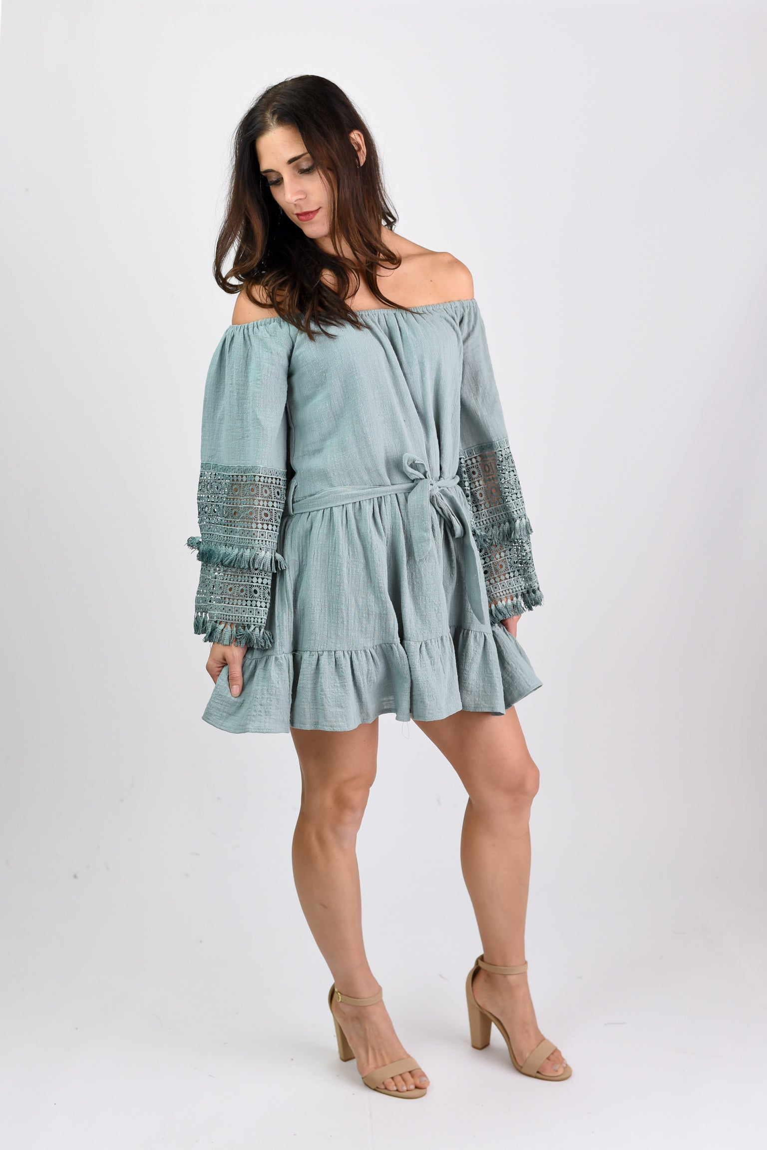 Meant To Rise Teal Crochet Sleeve Off Shoulder Dress