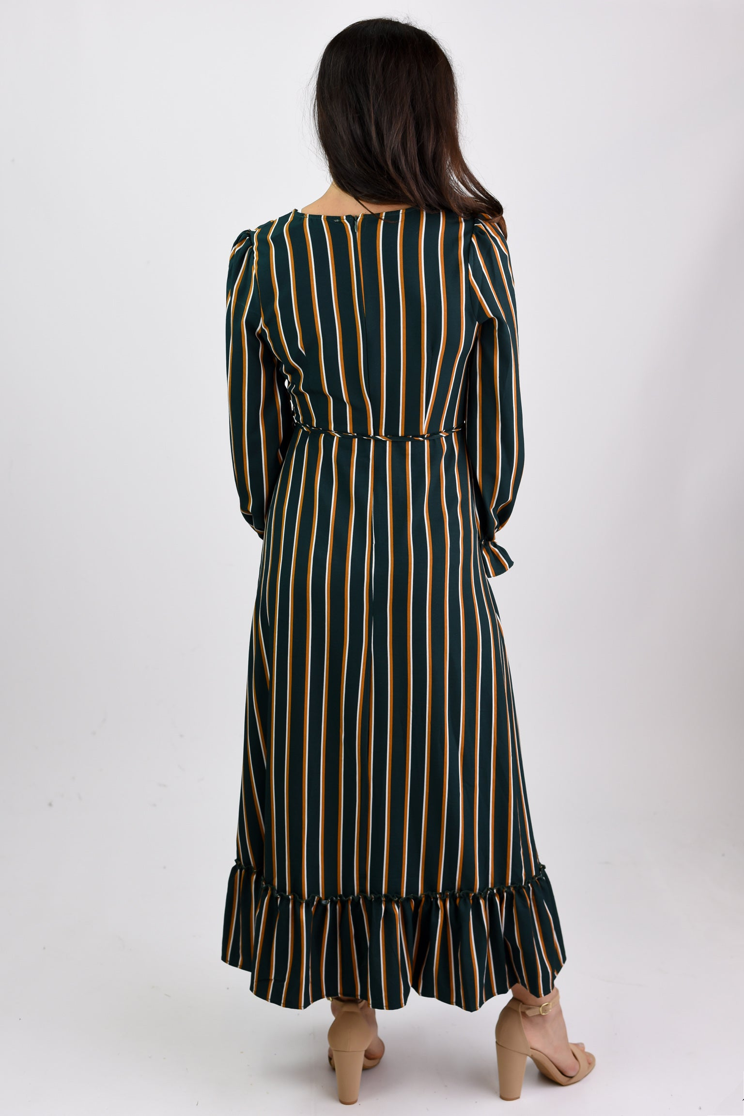 Vintage Charm Hunter Green Stripe Maxi Dress