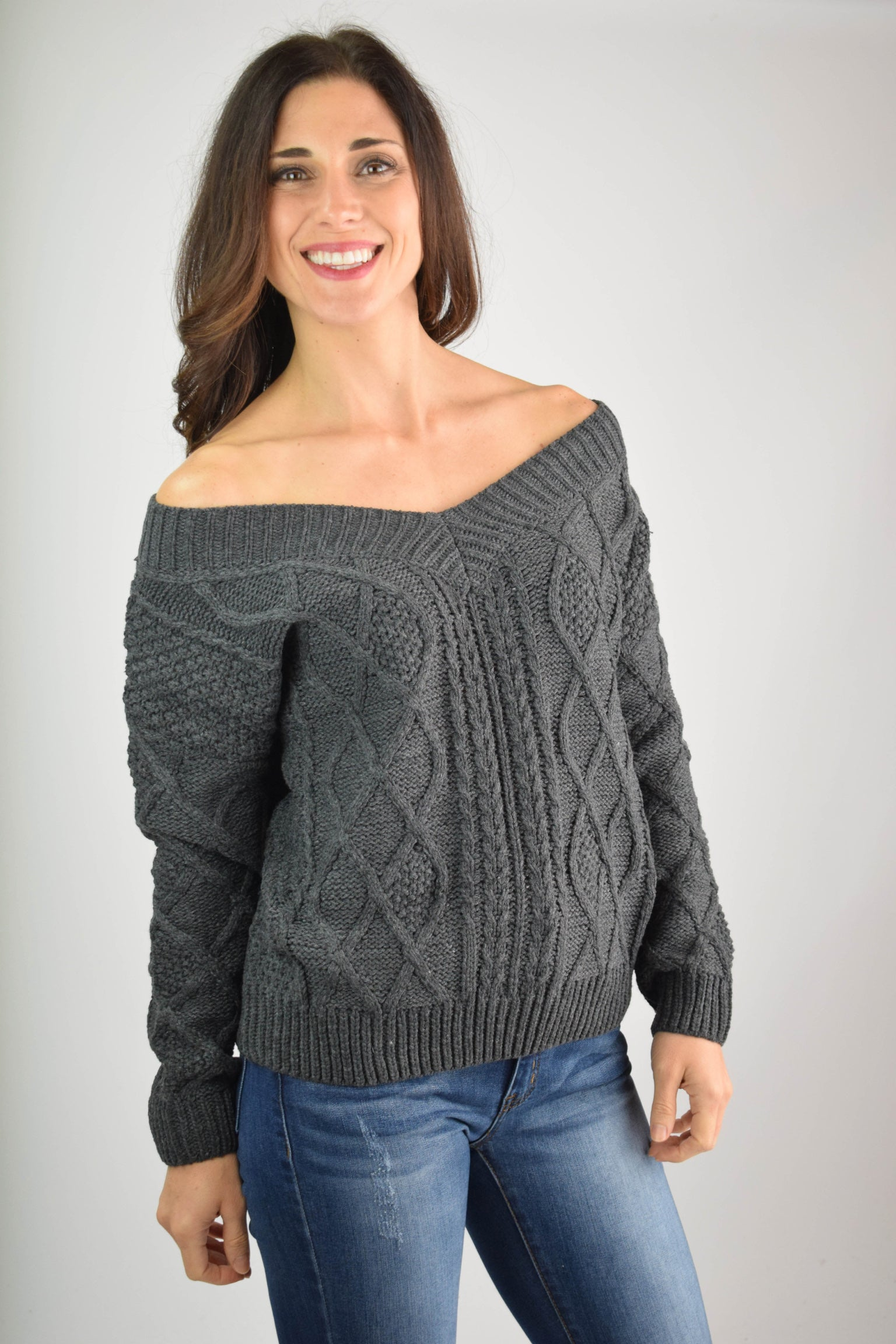 Give Thanks V-Neck Knit Sweater