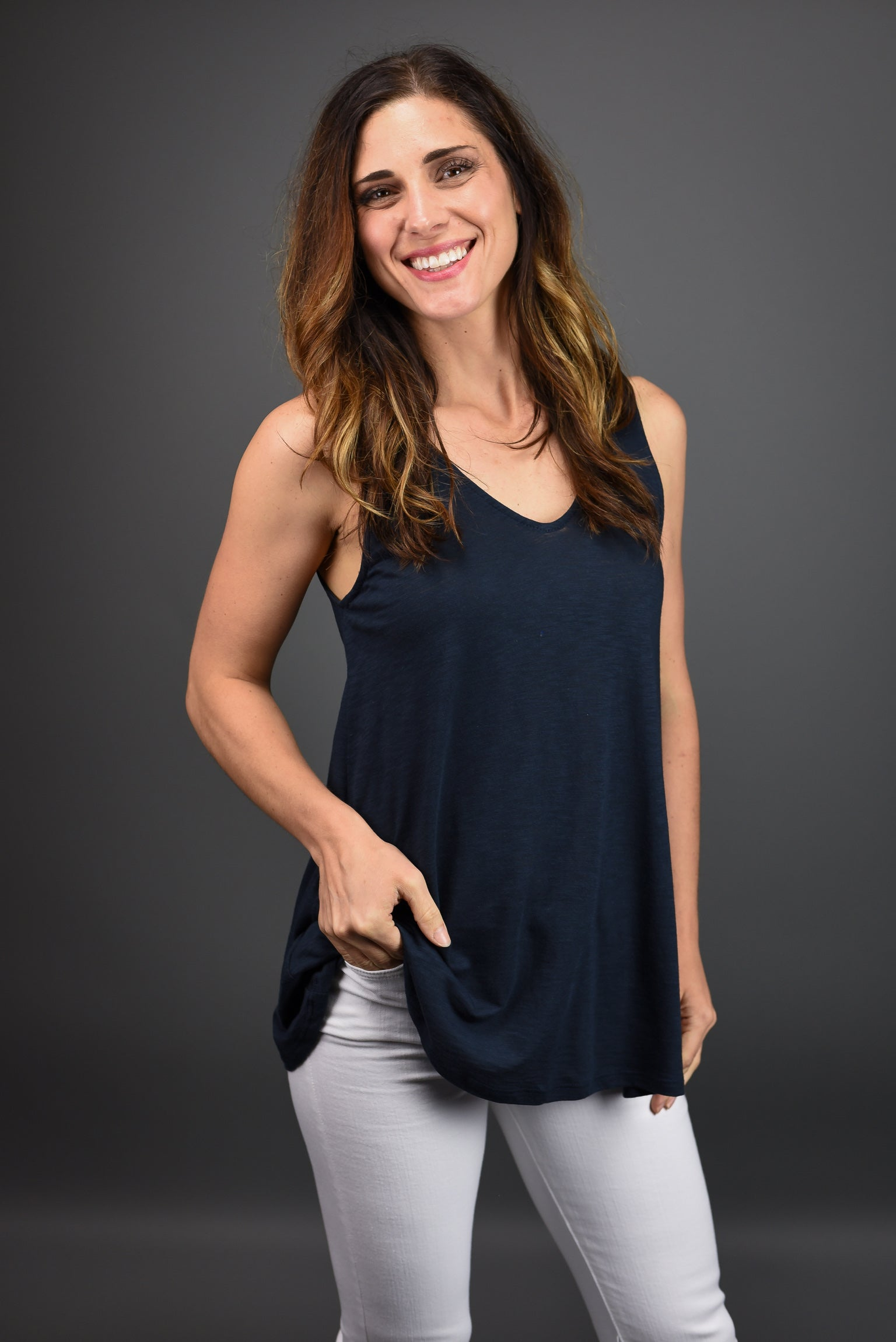Lead The Way Double Vneck Tank- Navy