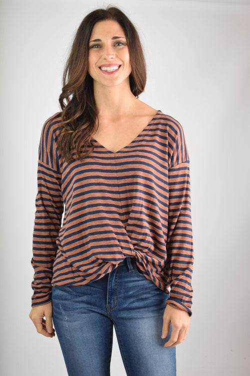 Mixed Melodies Rust and Navy Front Twist Long Sleeve Top