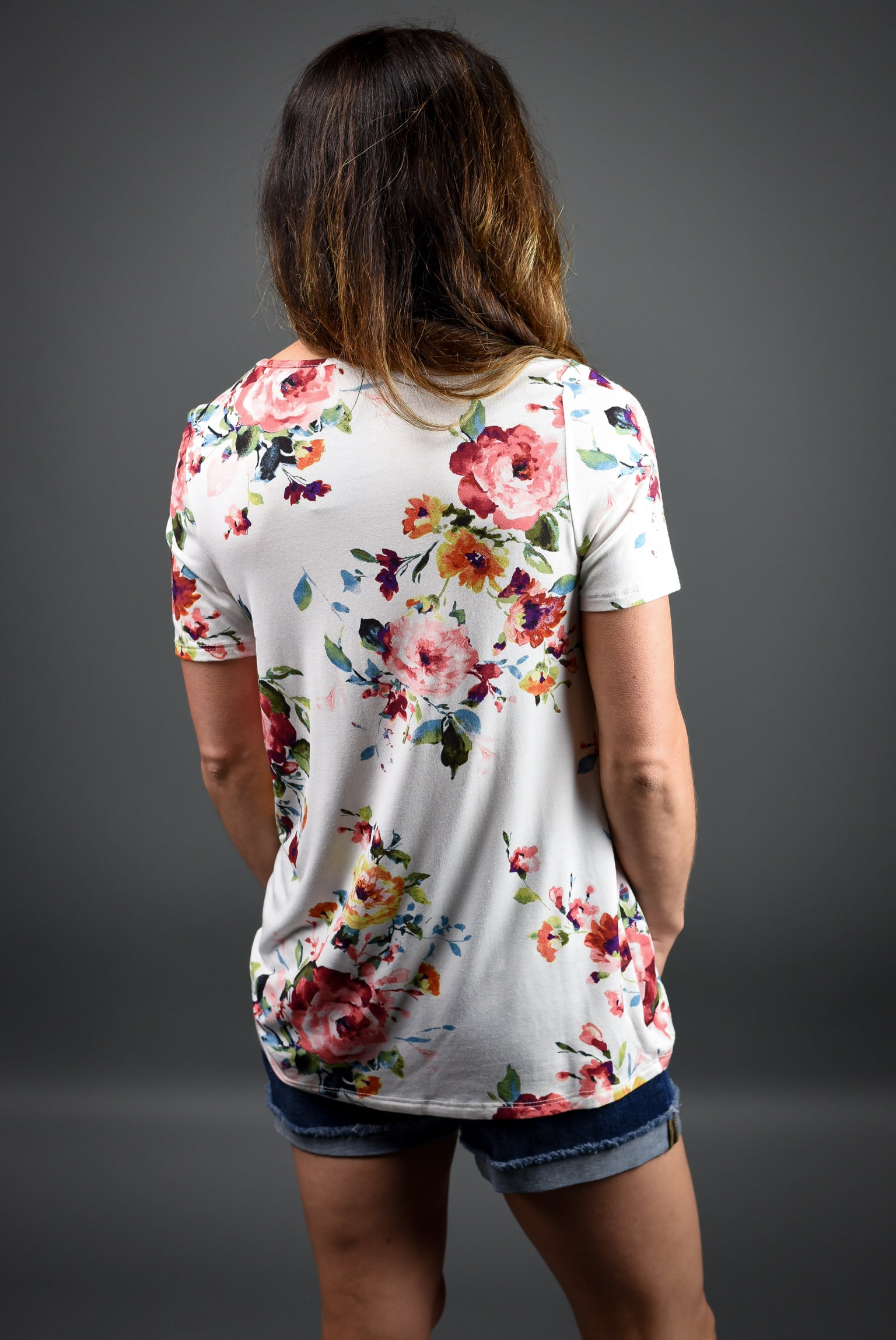 Beginning To Bloom Front Knot Tee - Ivory