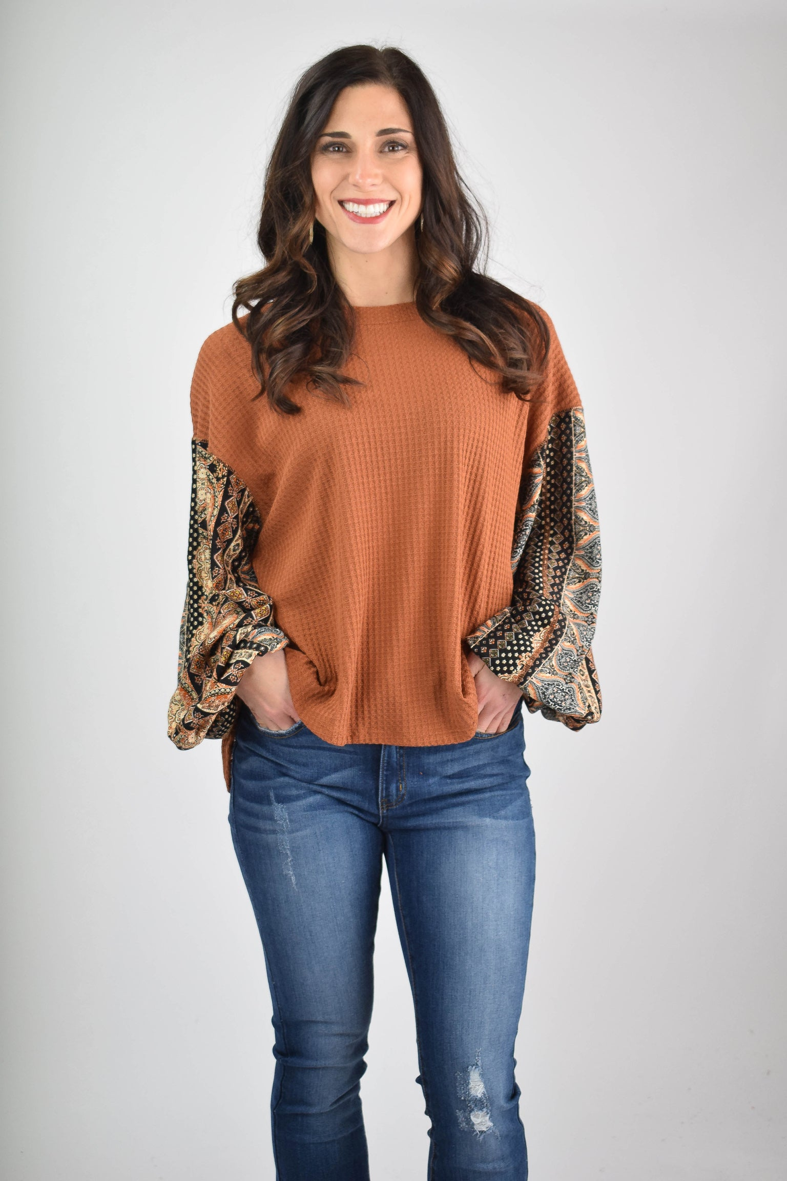 Hometown Girl Rust Waffle with Pattern Sleeve