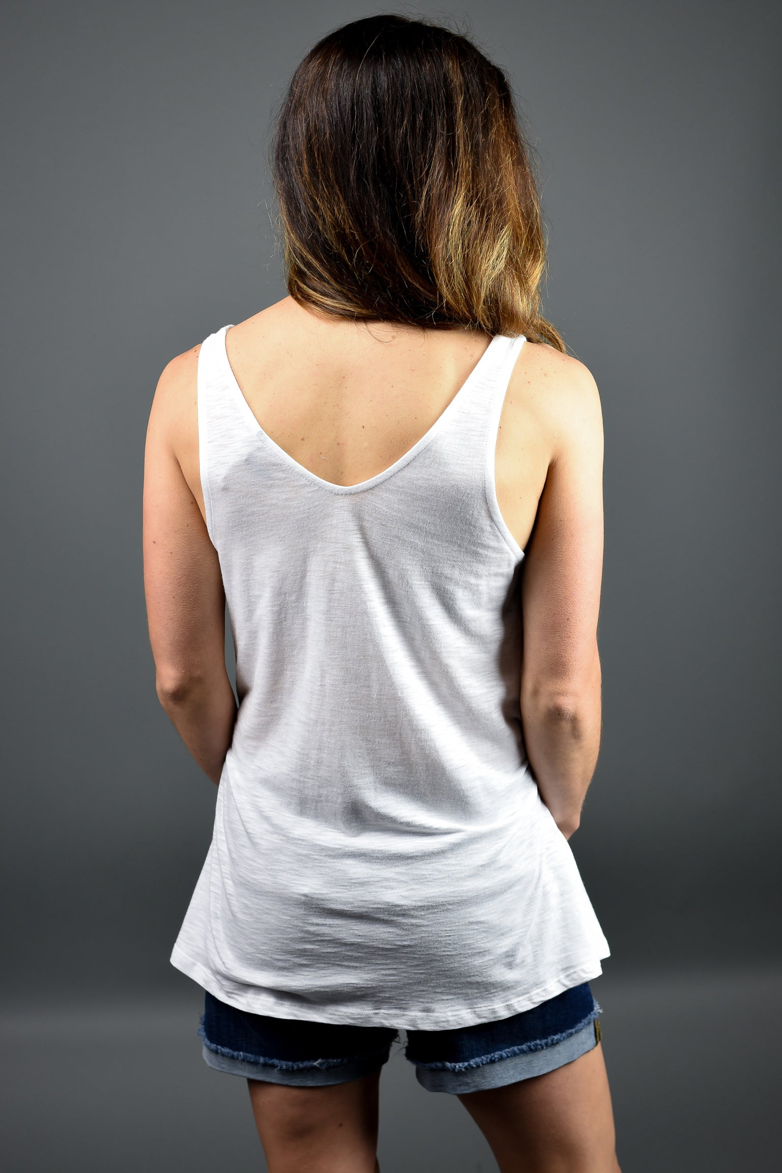 Lead The Way Double Vneck Tank- White