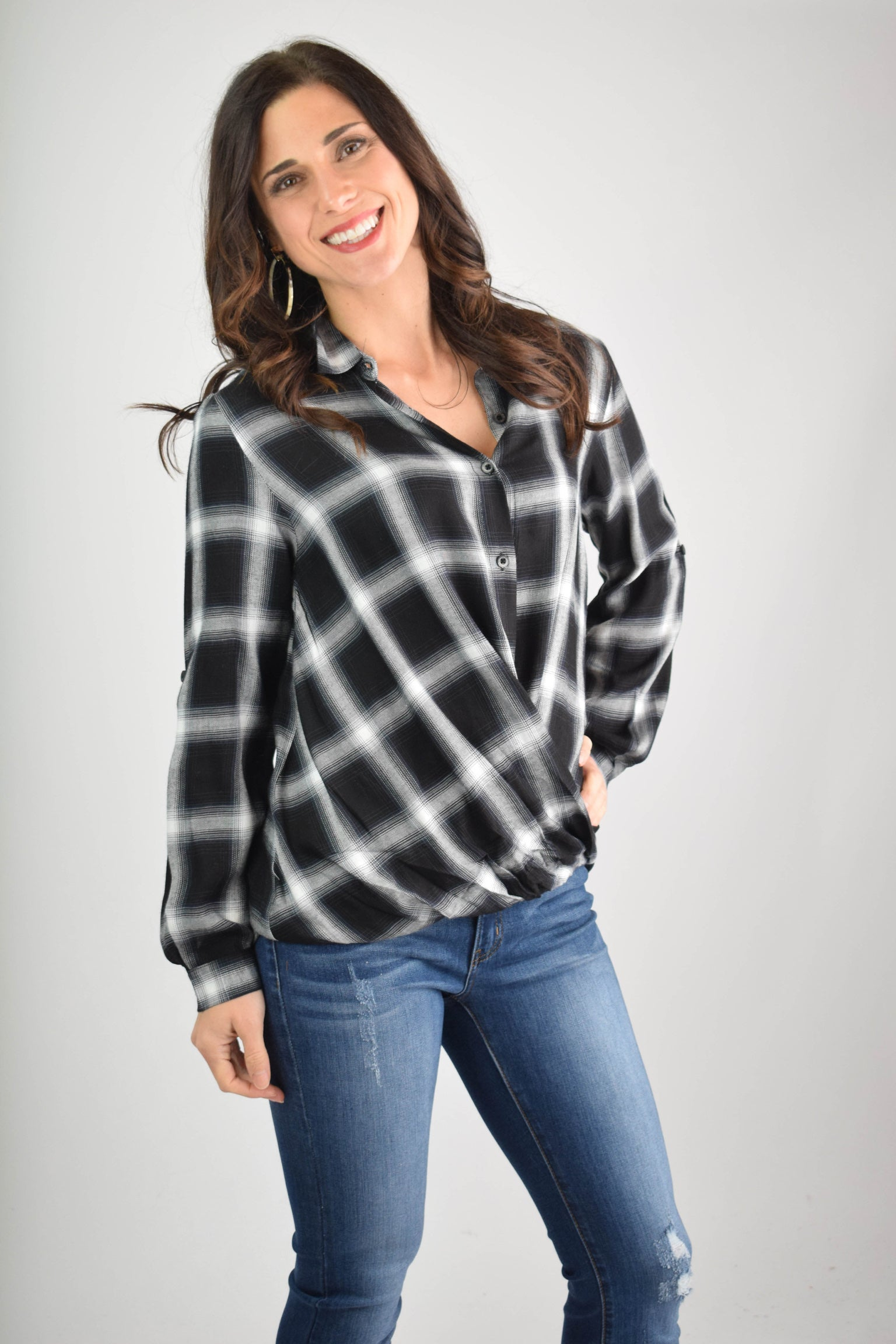 Top Of My Wishlist Black and White Plaid Wrap Top